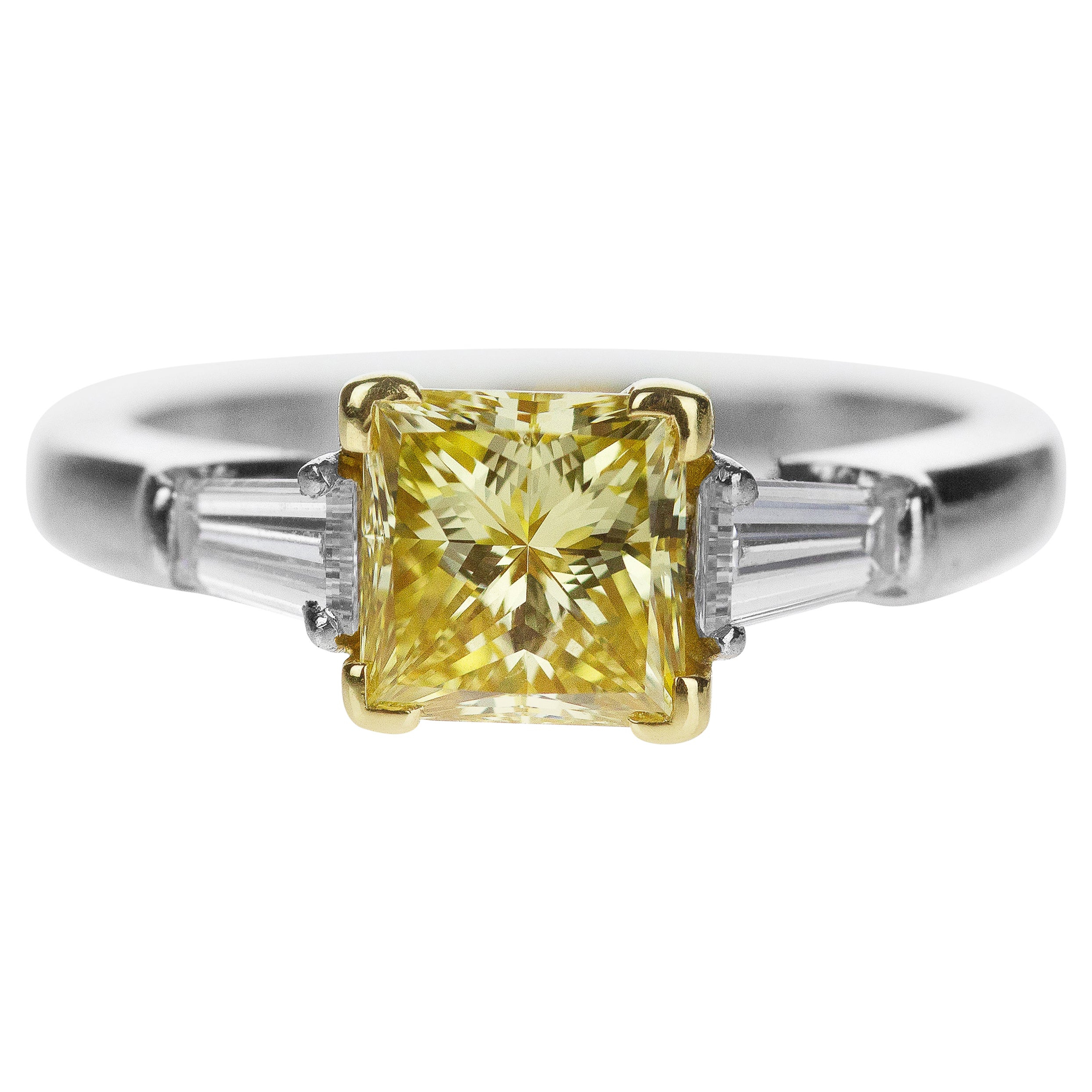 Wedding Ring: Princess Cut Canary Diamond (View 25 of 25)