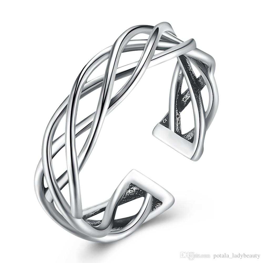Wedding S925 Sterling Silver Classic Glossy Ring Braided Opening Vintage  Circle Rings Elegant Free Sizes Band Old Rings Jewelry Potala04 In Best And Newest Vintage Circle Rings (Gallery 22 of 25)