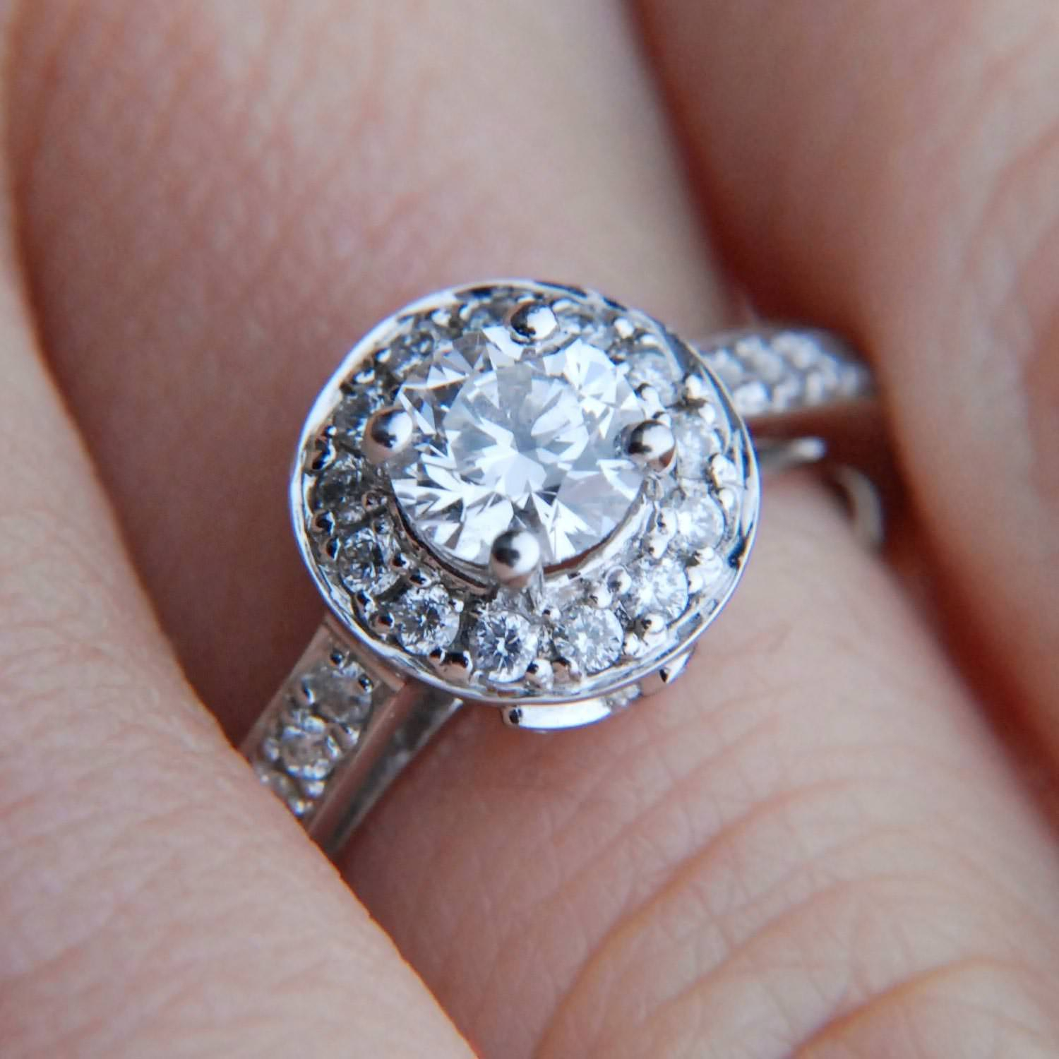 What Is A Halo Ring? | Jewelry Wise Intended For Latest Diamond Frame Five Stone Anniversary Bands In White Gold (View 24 of 25)