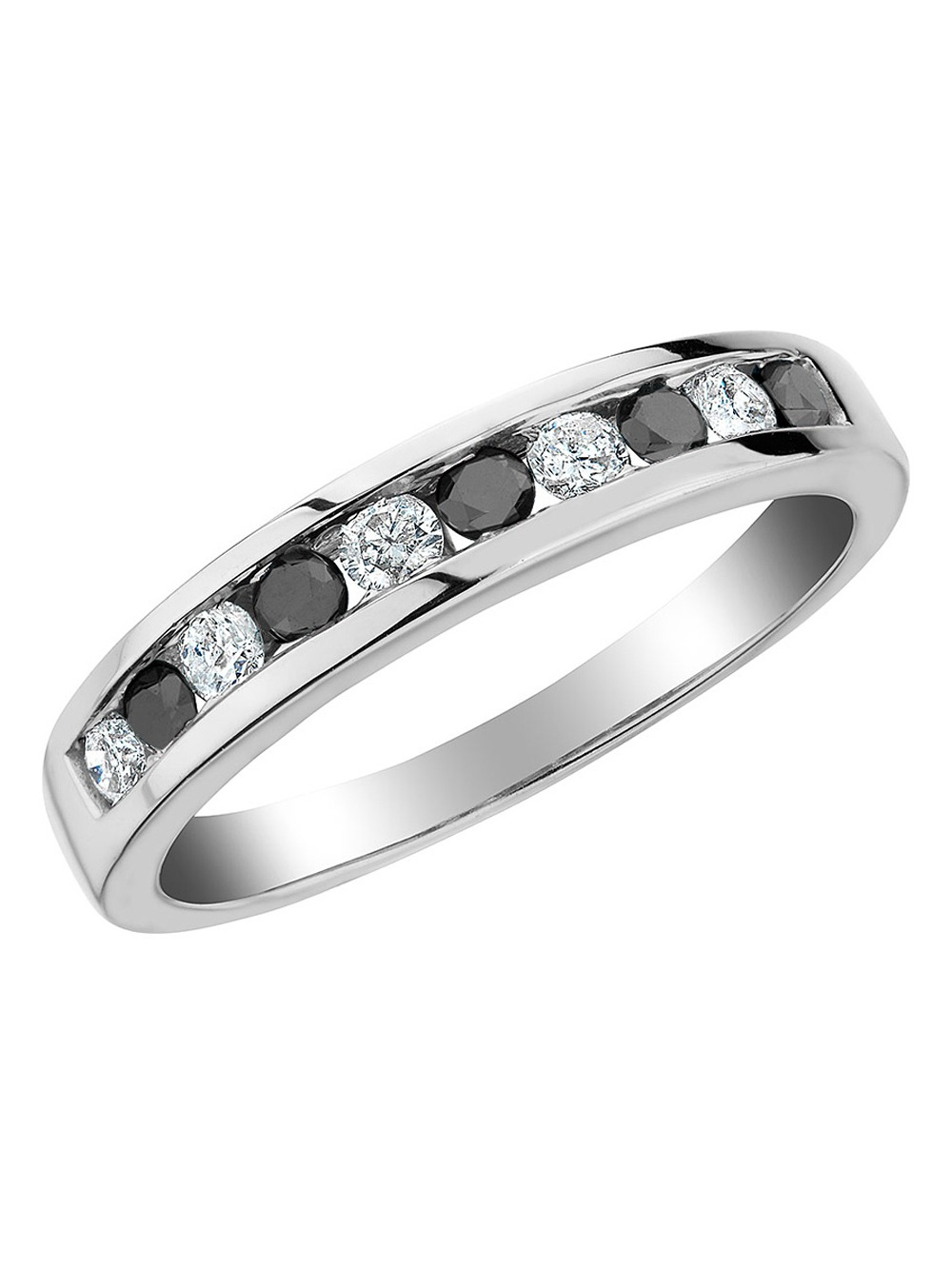 White And Enhanced Black Diamond Ring 1/2 Carat (ctw H I, I1 Intended For 2019 Enhanced Black And White Diamond Anniversary Ring In White Gold (View 9 of 25)