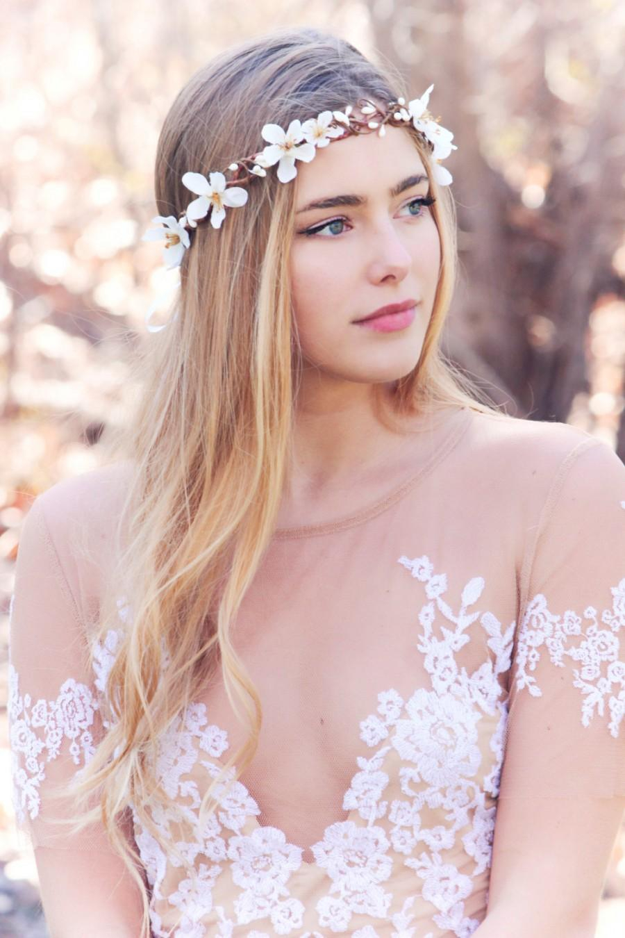 White Apple Blossom Boho Wedding Wreath, Bridal Flower Crown, Bridal Inside Most Up To Date Flower Crown Rings (View 24 of 25)