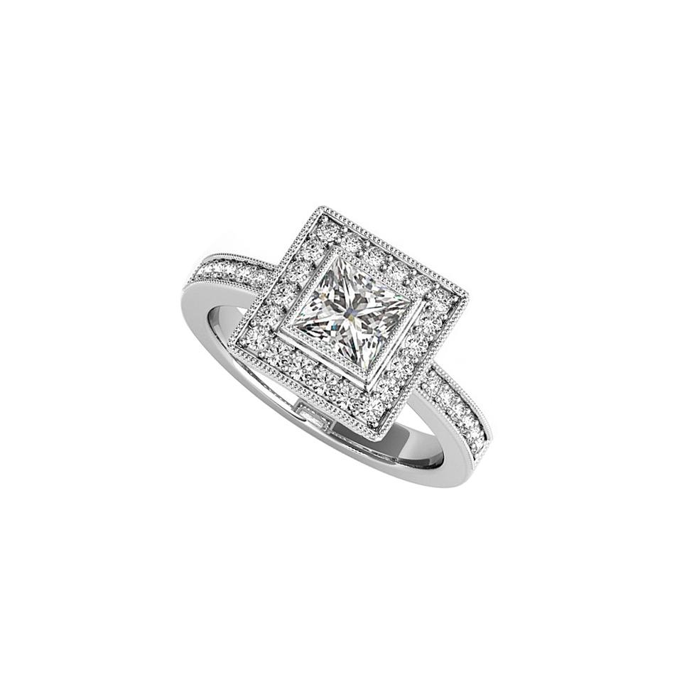 White Bezel Set Cz Square Halo Engagement 14K Gold Ring 71% Off Retail For Newest Sparkling Square Halo Rings (View 24 of 25)