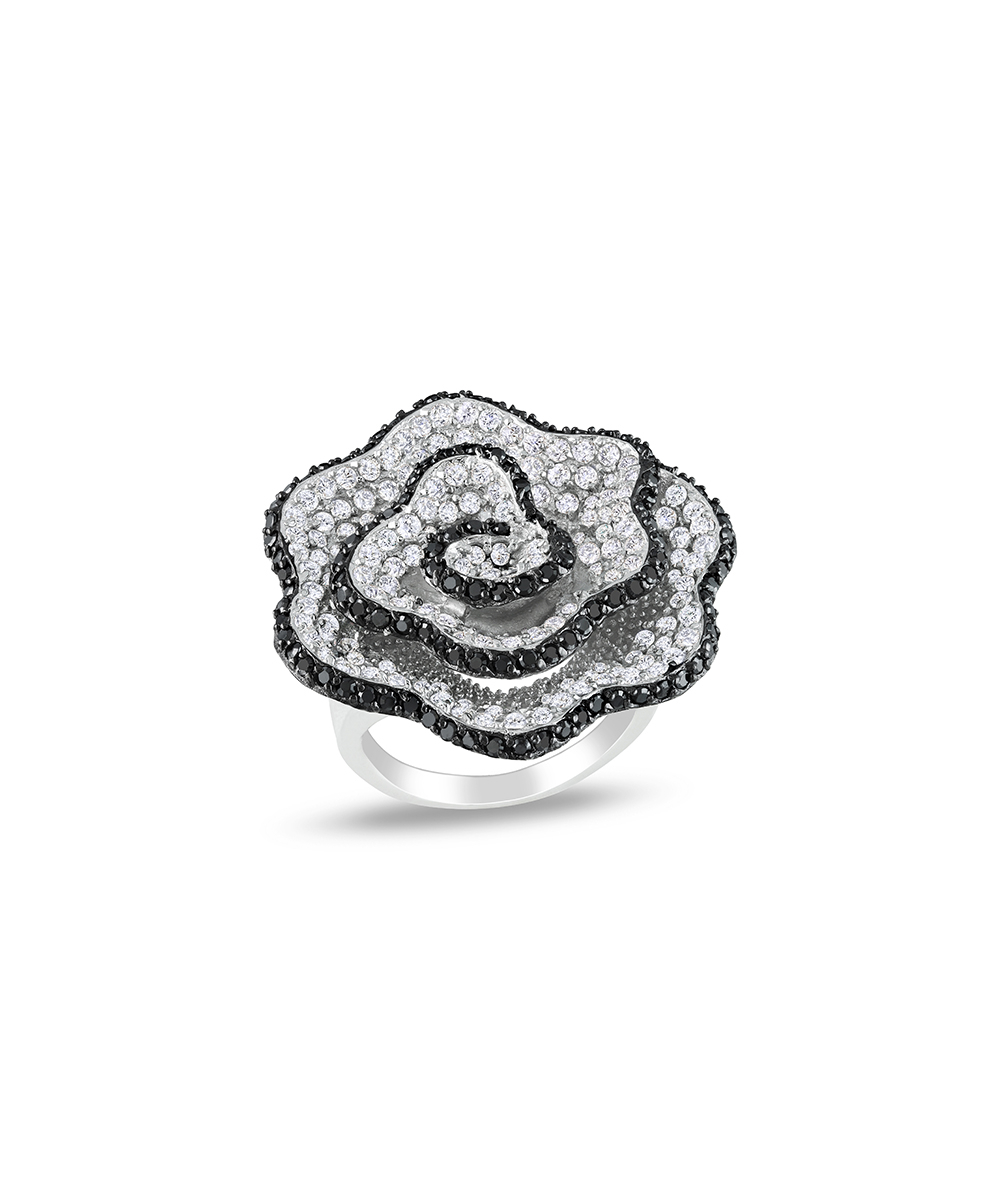 White & Black Cubic Zirconia Swirl Pavé Flower Ring In Most Recent Pavé Flower Rings (View 2 of 25)