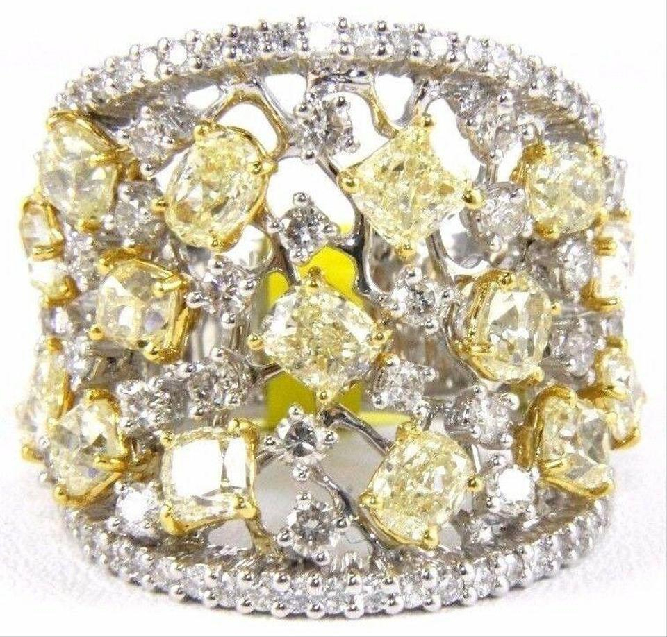 White Canary Yellow Diamond Cluster Wide Ring Band 14K Gold  (View 22 of 25)