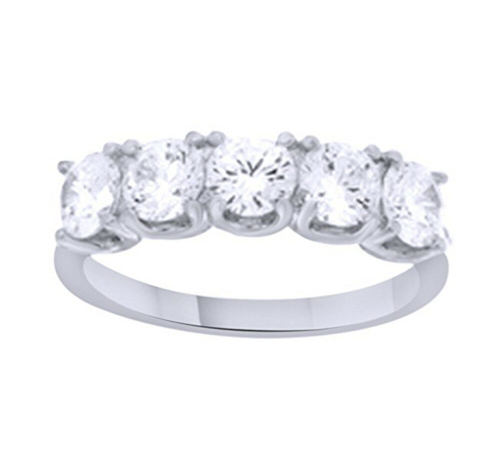 """White Cubic Zirconia 14K Gold Over Sterling Silver Five Pertaining To Newest Diamond Five Stone """"s"""" Anniversary Bands In Sterling Silver (View 22 of 25)"""