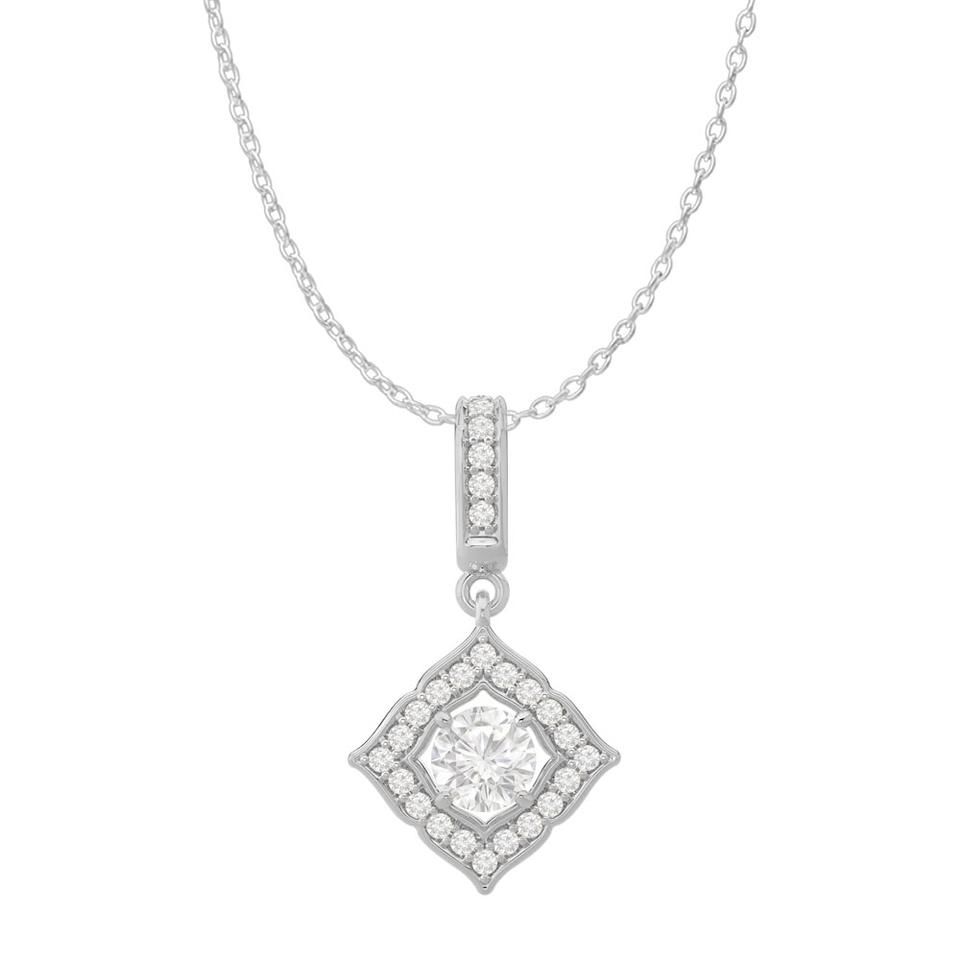 White Cubic Zirconia Halo Square Pendant 14K Gold Necklace 71% Off Retail With Regard To Best And Newest Square Sparkle Halo Pendant Necklaces (View 10 of 25)