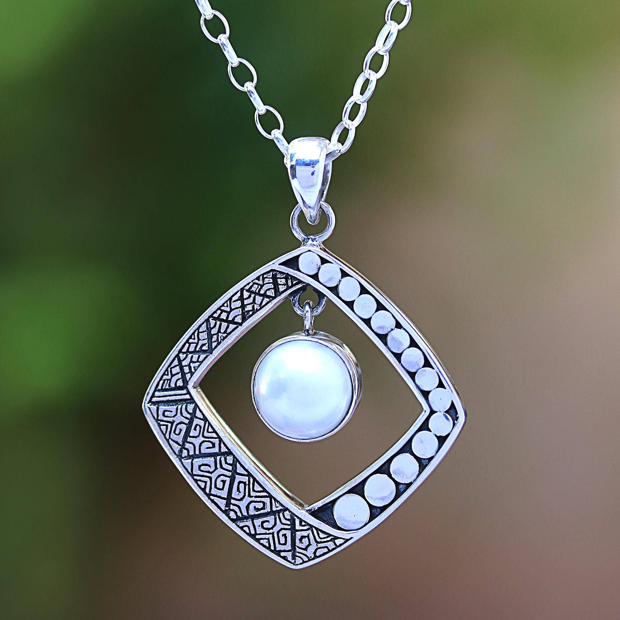 White Cultured Pearl Pendant Necklace From Bali, 'moon Gate' For Most Recently Released Gate Of Love Necklaces (View 13 of 25)