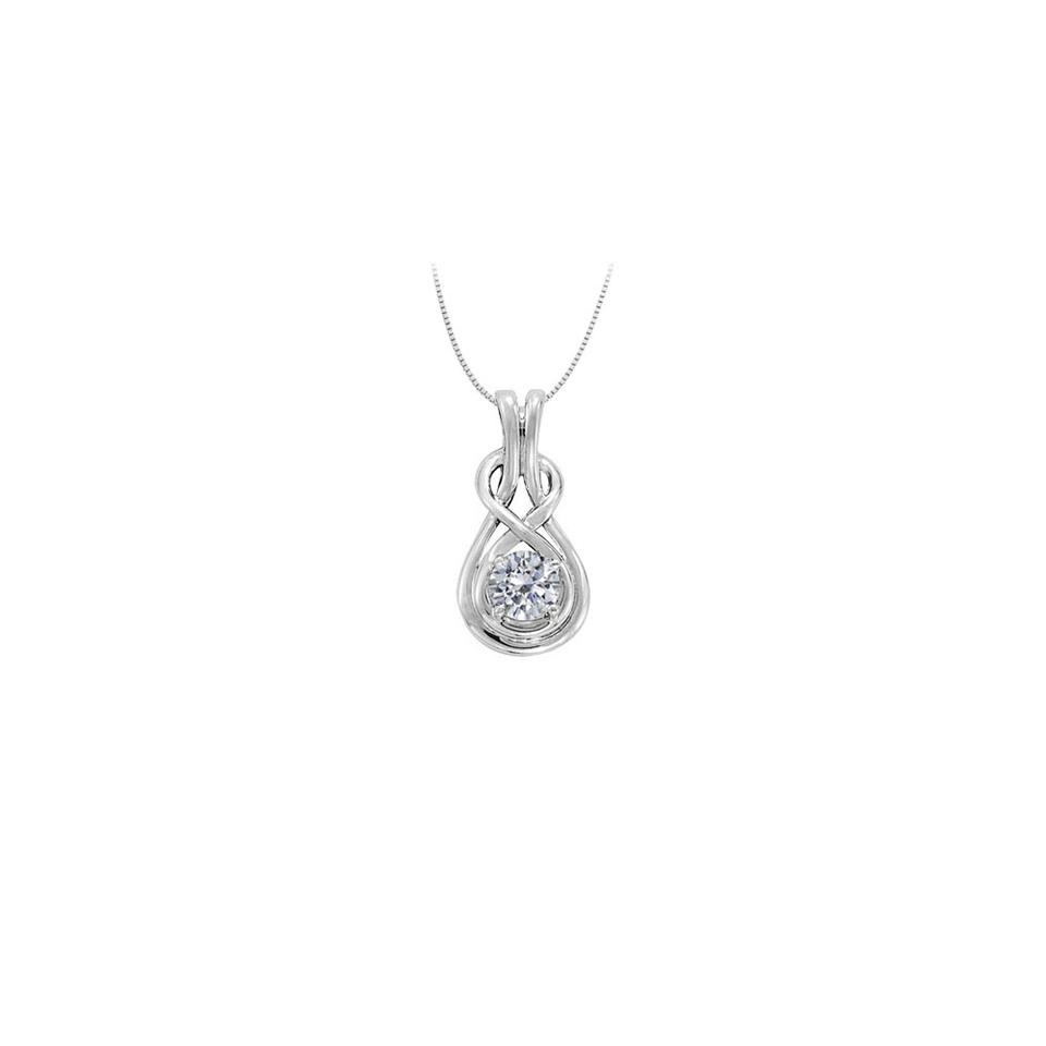 White Diamond Love Knot Pendant In 14k Gold Totaling (View 11 of 25)