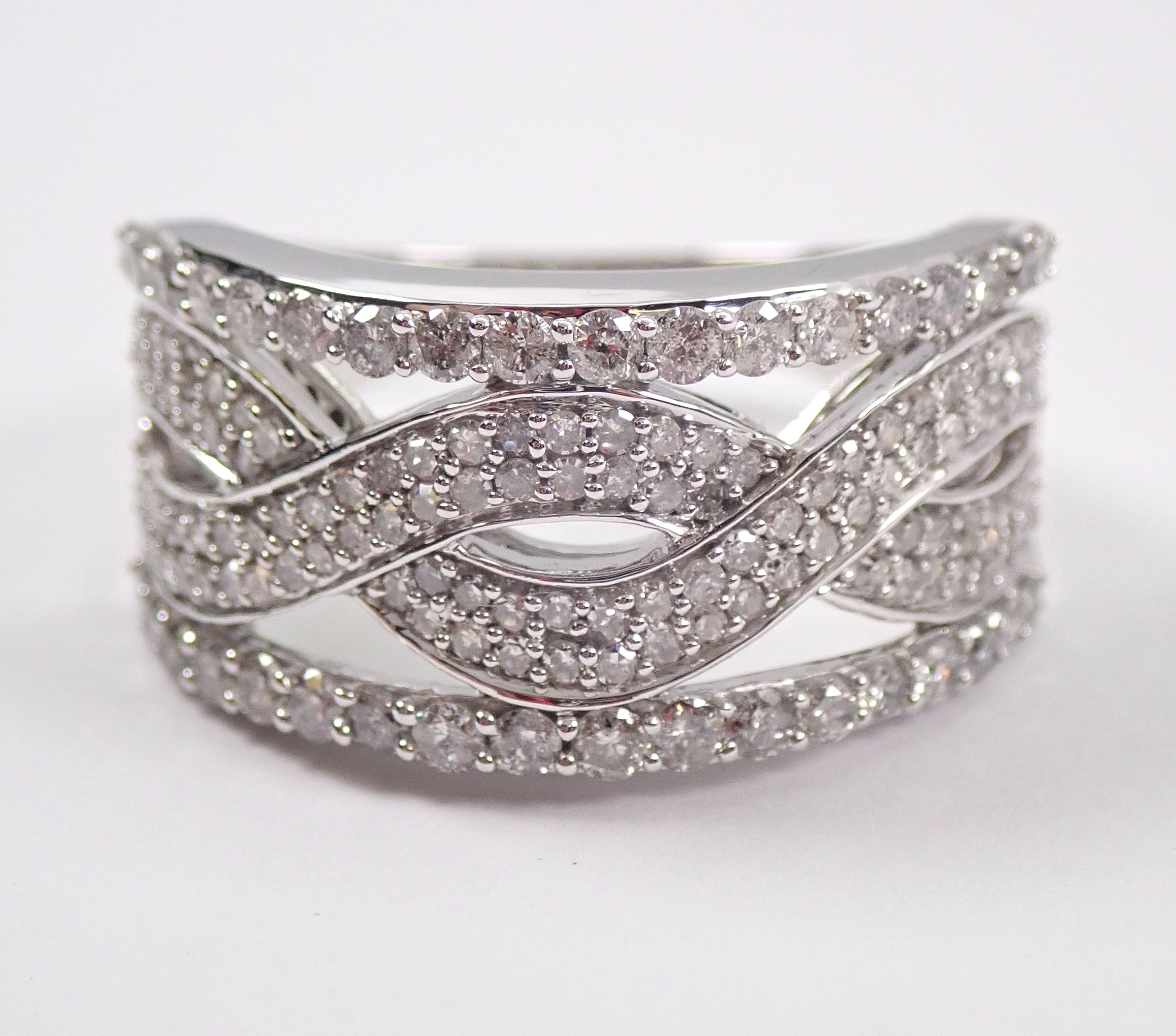 White Gold Diamond Anniversary Ring Multi Row Stackable Pertaining To Most Recently Released Diamond Multi Row Anniversary Bands In White Gold (View 24 of 25)