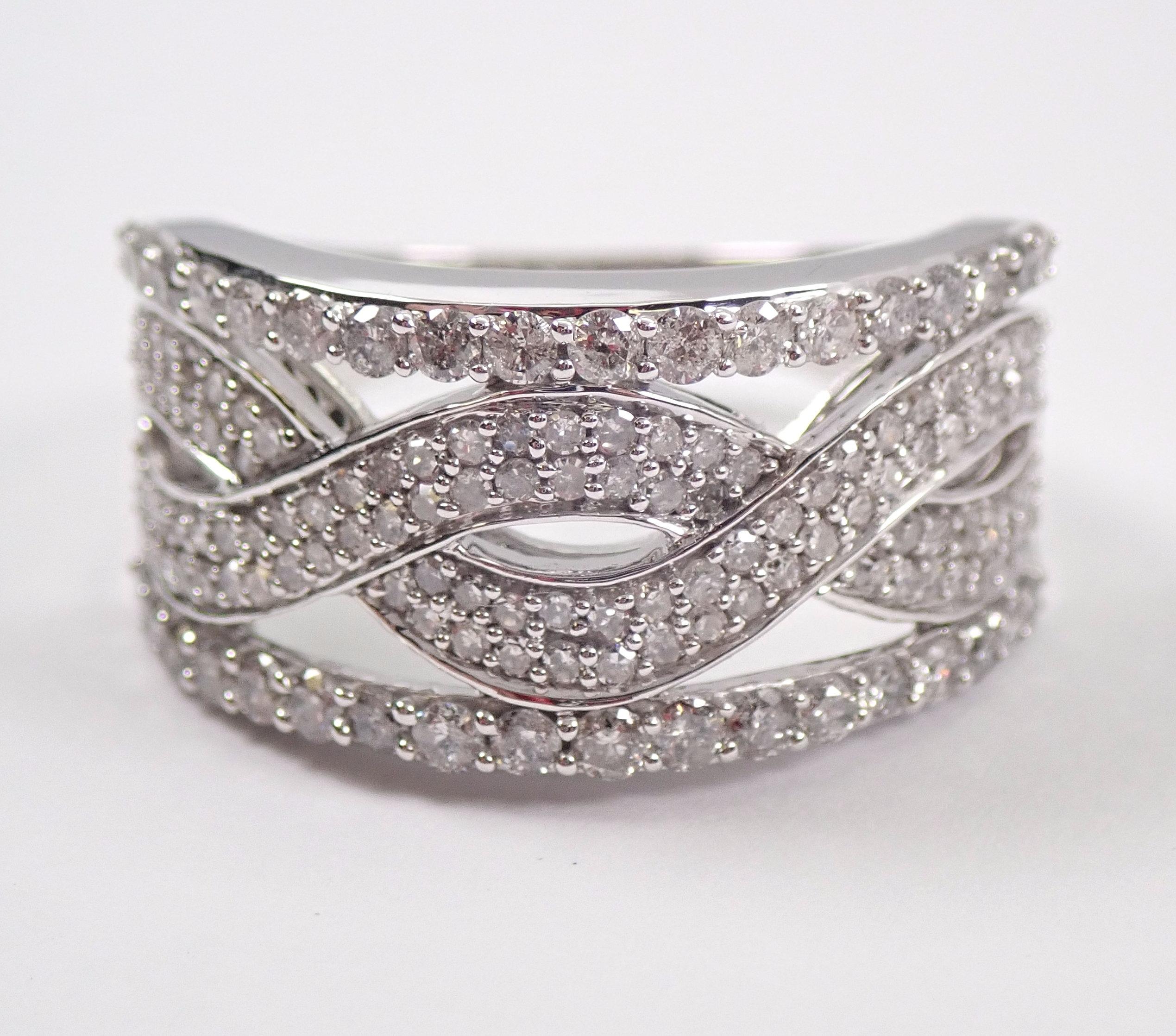 White Gold Diamond Anniversary Ring Multi Row Stackable Regarding Most Recent Diamond Multi Row Anniversary Ring In White Gold (View 14 of 25)