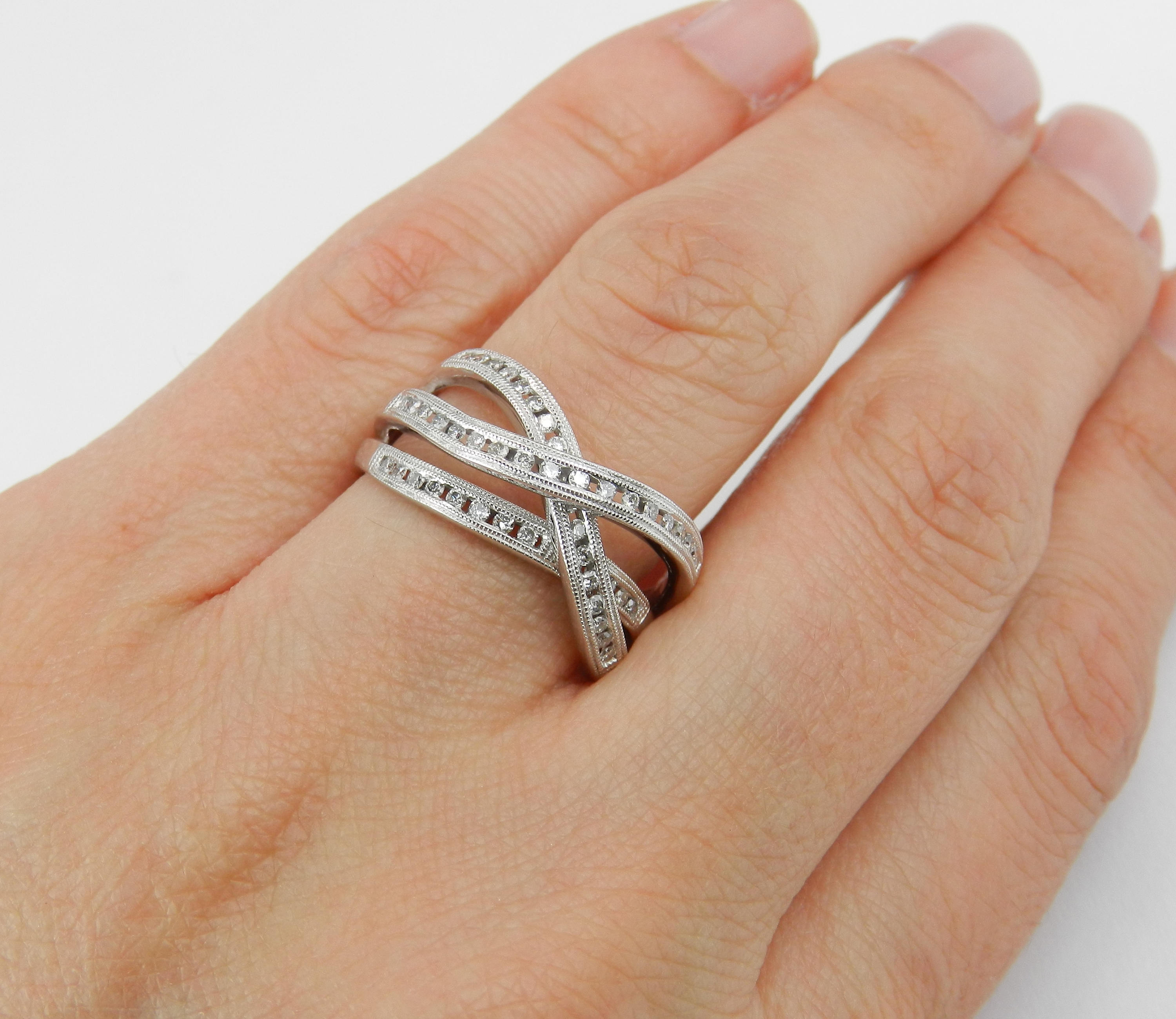 White Gold Diamond Crossover Wedding Ring Multi Row Band Size 8 For Current Diamond Multi Row Anniversary Bands In White Gold (View 25 of 25)