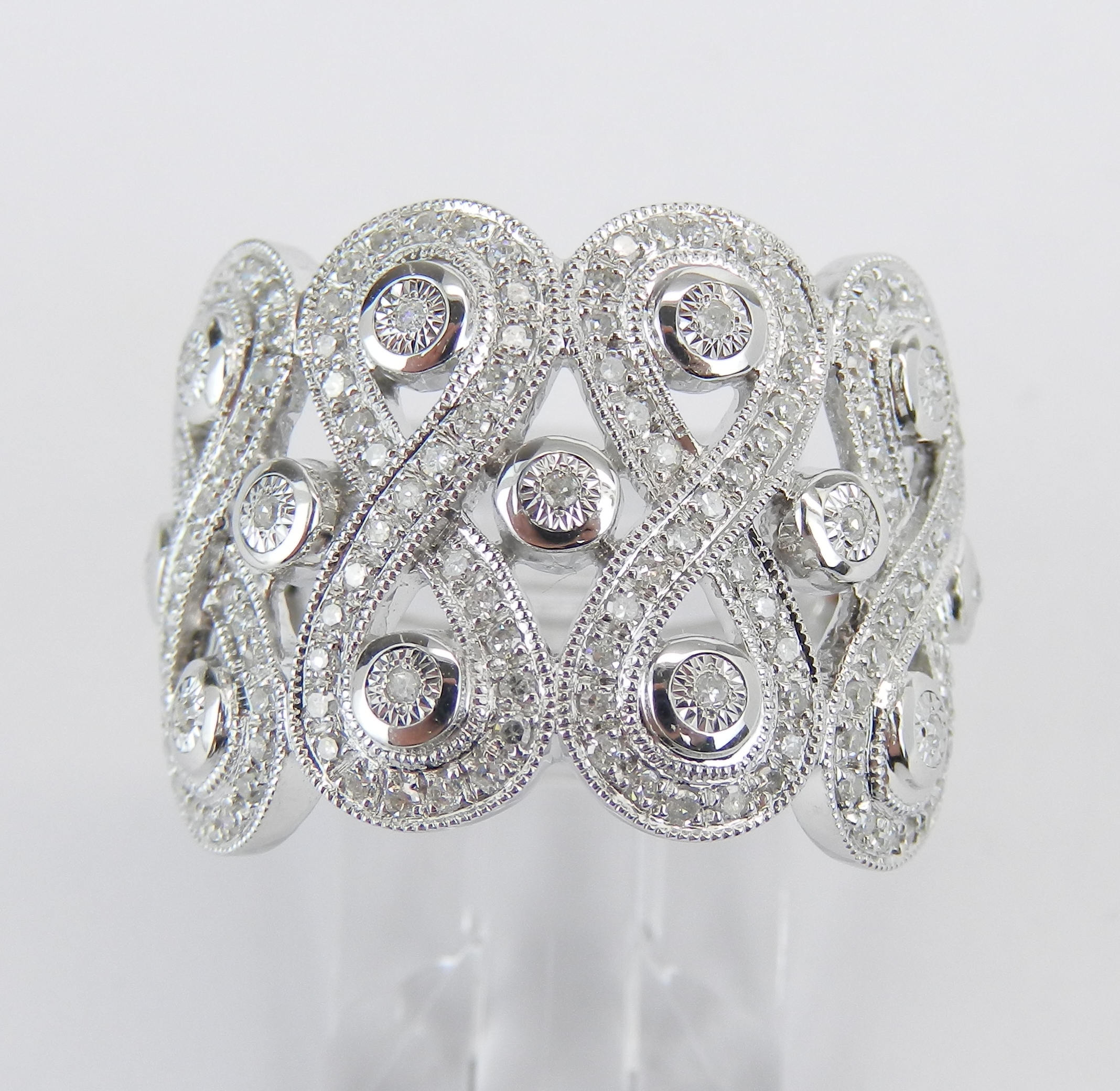 White Gold Diamond Ring, Wide Diamond Wedding Ring With 2019 Diamond Swirl Anniversary Bands In White Gold (View 25 of 25)