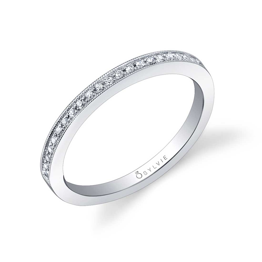 White Gold Diamond Wedding Band With Milgrain Accents Within Best And Newest Diamond Milgrain Anniversary Bands In White Gold (View 5 of 25)