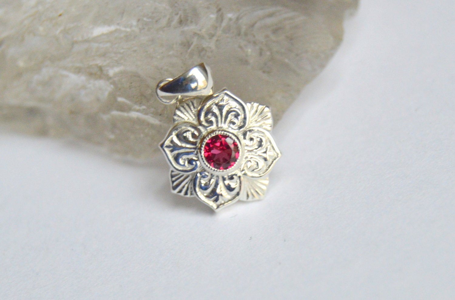 White Gold Pendant, Lily Pendant, Spinel Pendant,  (View 25 of 25)