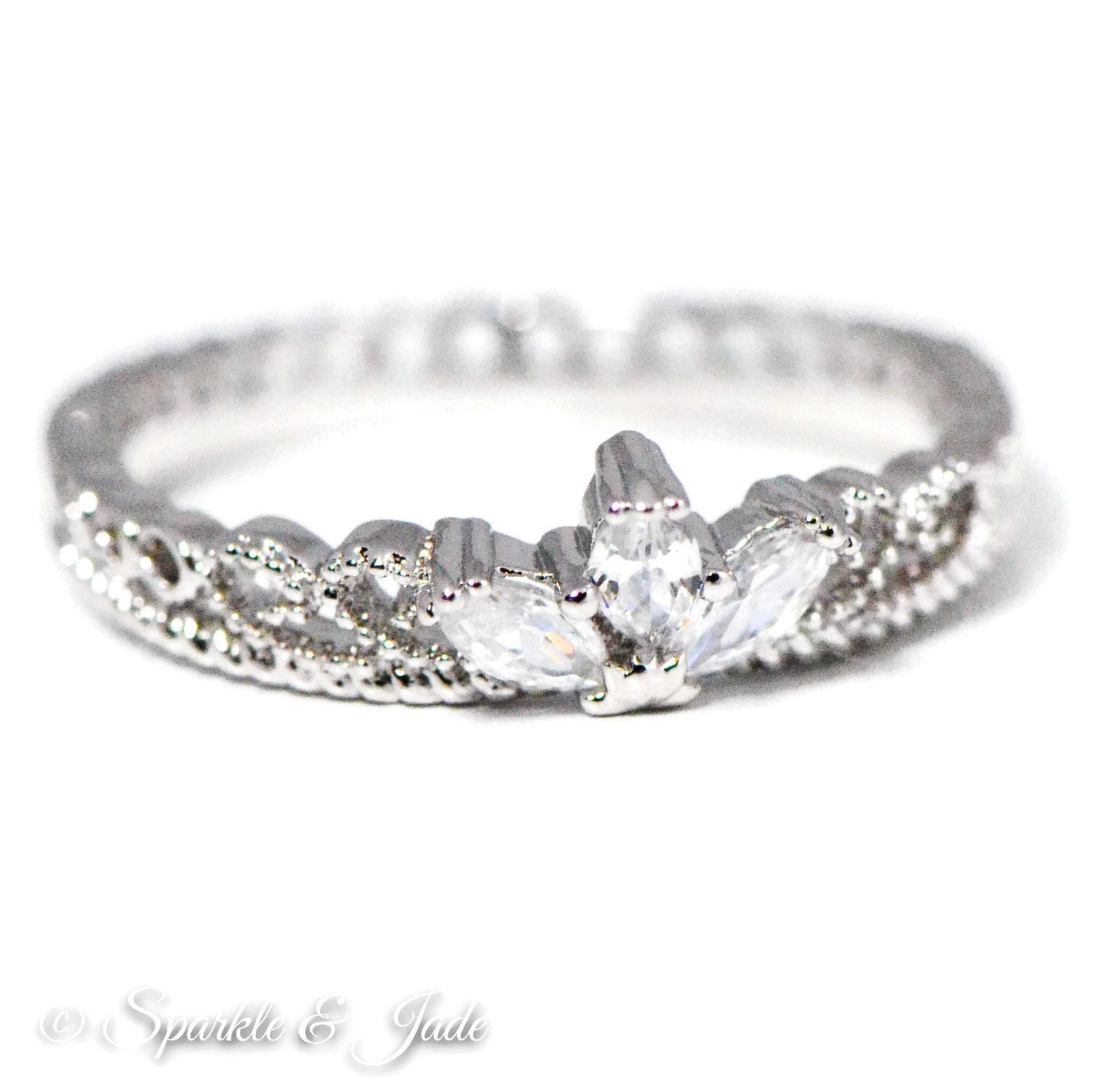 White Gold Plated Cz Dainty Princess Crown Ring – (Silver Tone) In Throughout Current Black Sparkling Crown Rings (View 24 of 25)