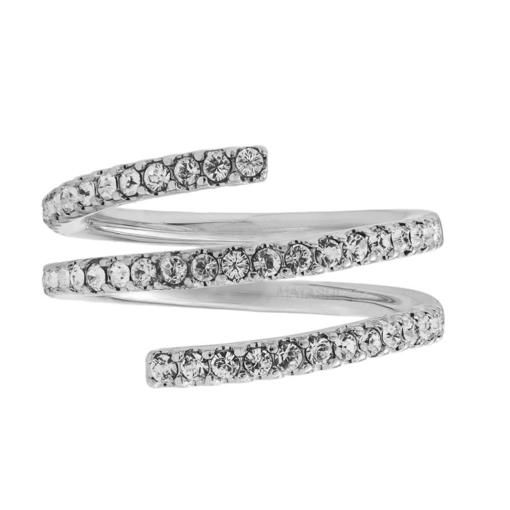 White Gold Plated Luxury Coiled Ring Designed With Sparkling Crystals Matashi (Size 5,6,7) Throughout 2018 Sparkling Butterfly Open Rings (Gallery 18 of 25)