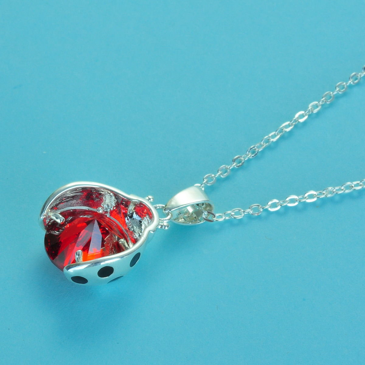 White Gold Plated Swarovski Crystal Ladybird Ladybug Necklace In Latest Purple Ladybird Locket Element Necklaces (View 9 of 25)