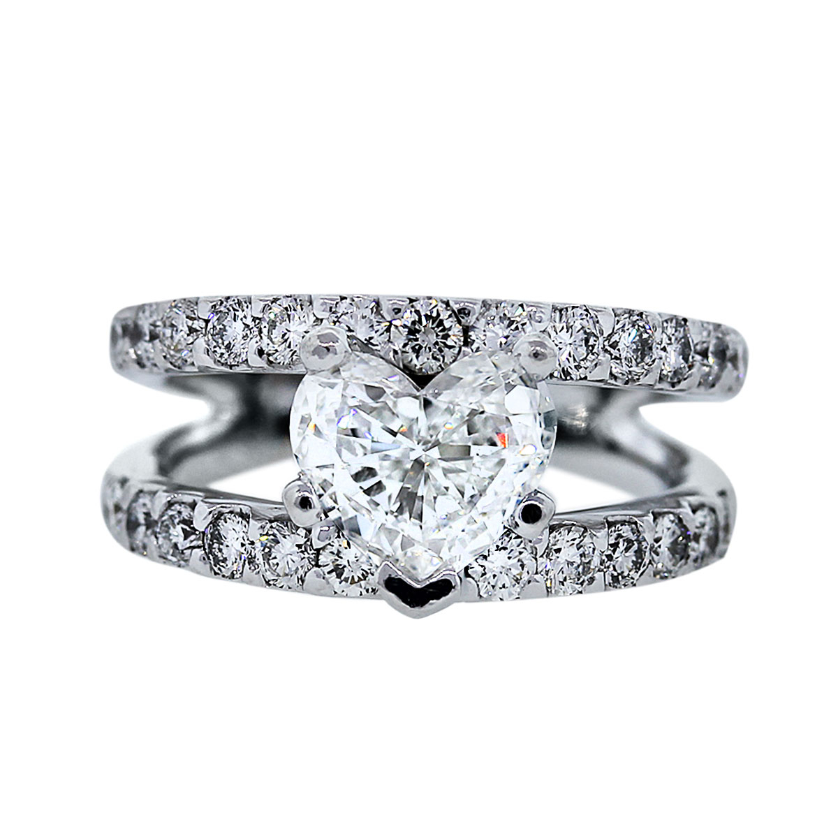 White Gold Split Shank Heart Diamond Engagement Ring Shaped In Most Popular Diamond Heart Shaped Anniversary Bands In Gold (View 25 of 25)