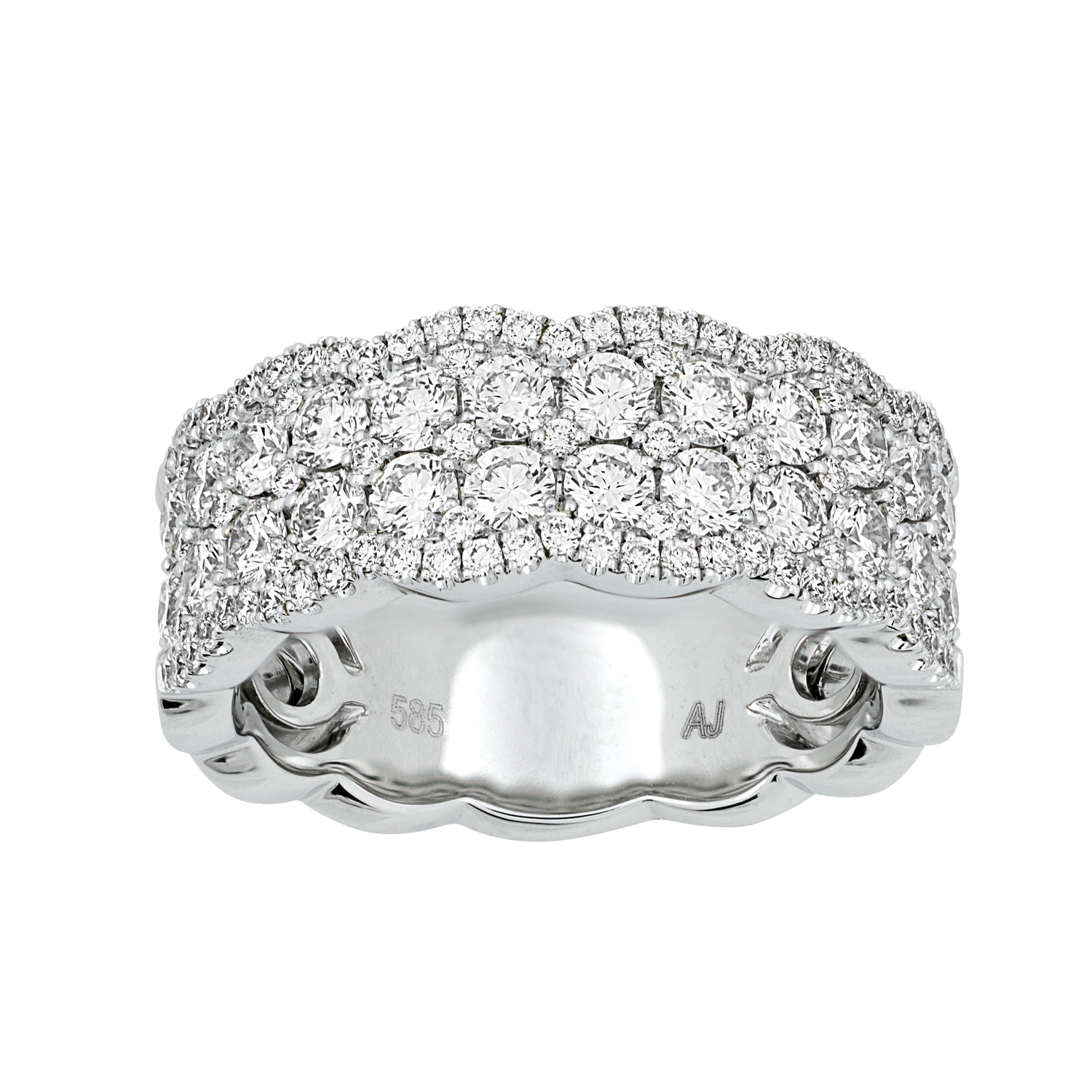 White Gold Two Row Diamond Band, Scalloped Edges – 14 Karat Inside Most Up To Date Diamond Double Row Anniversary Bands In White Gold (View 18 of 25)
