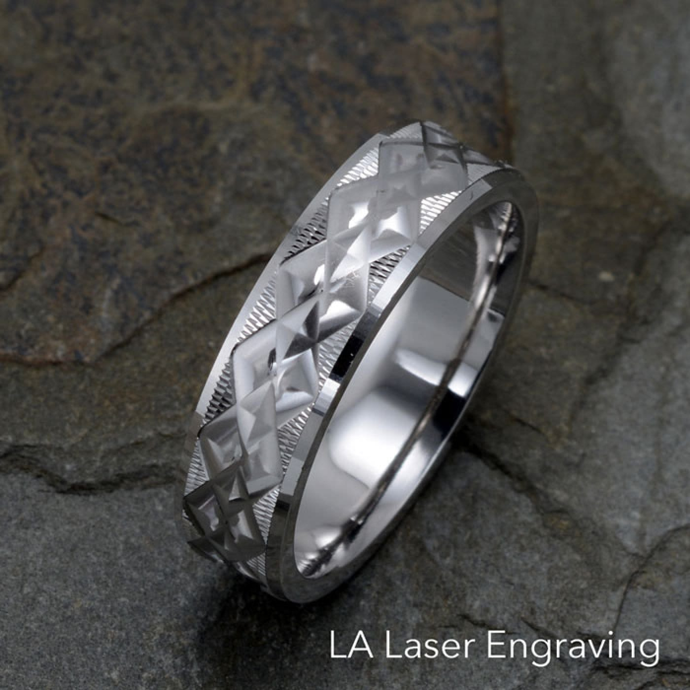 White Gold Wedding Band Polished Textured Grooved 6Mm Width Intended For Best And Newest Polished Zigzag Rings (View 23 of 25)