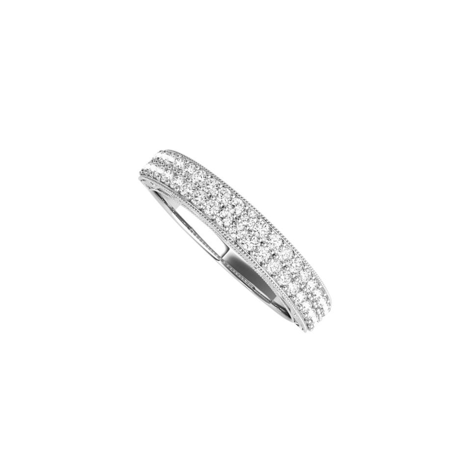 White Simple Gold Wedding Band For Women With Cubic Zirconia Ring 66% Off Retail For Current Simple Sparkling Band Rings (View 18 of 25)