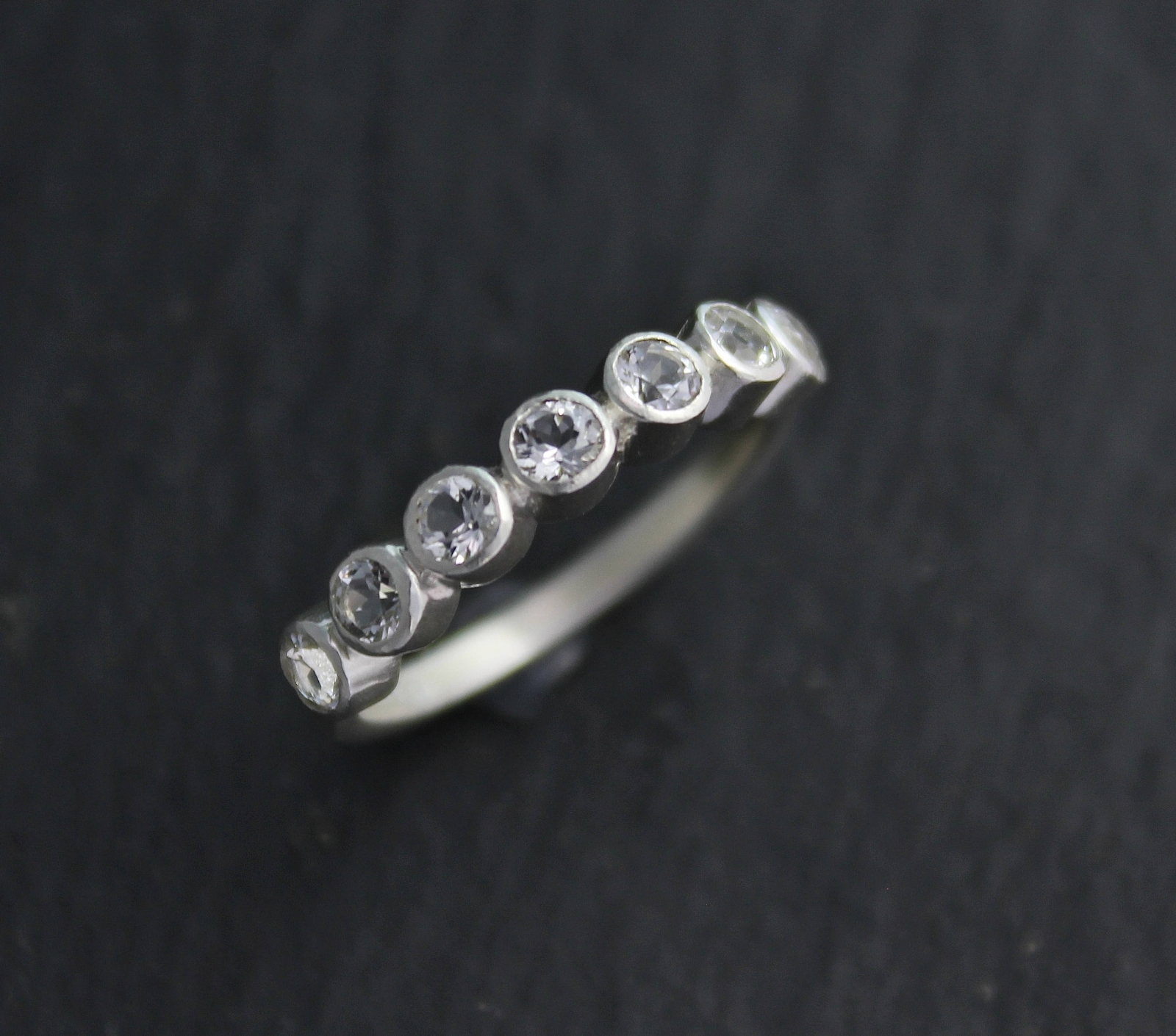White Topaz Seven Stone Ring, Seven Stone Stacking Band, Anniversary Band, Sterling Silver Wedding Band, April Birthstone, Ready To Ship For Most Up To Date Diamond Seven Stone Anniversary Bands In Sterling Silver (View 9 of 25)