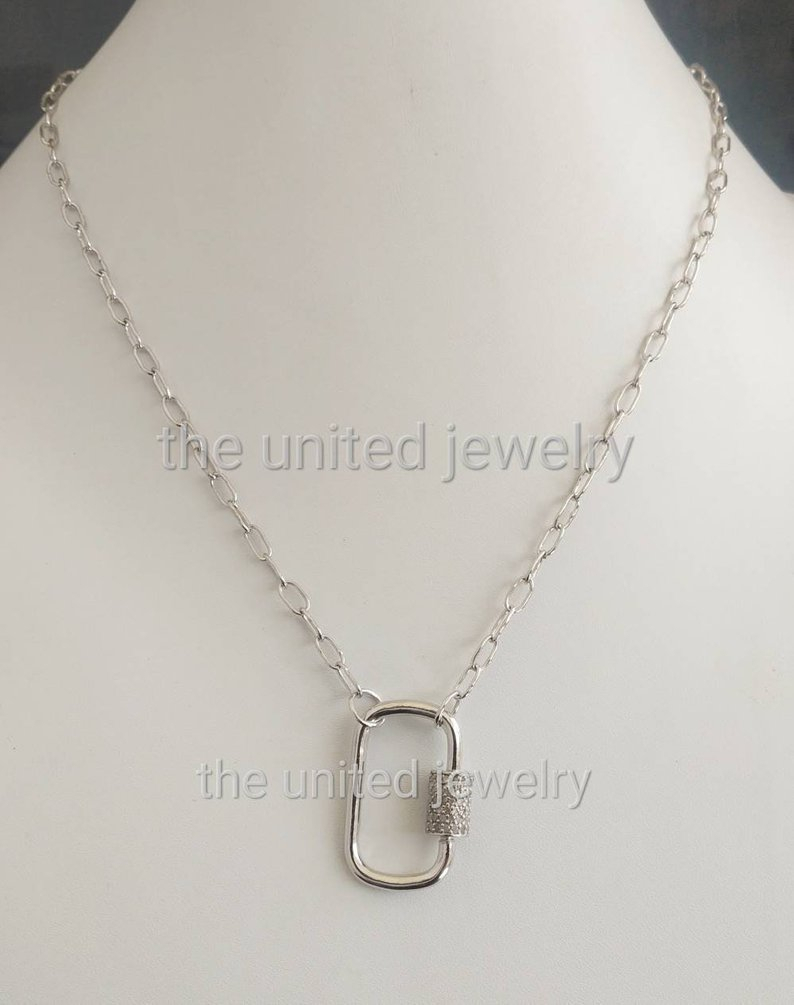 Wholesale Carabiner Lock Natural Pave Diamond Handmade Steling Long With 2020 Long Link Cable Chain Necklaces (View 24 of 25)