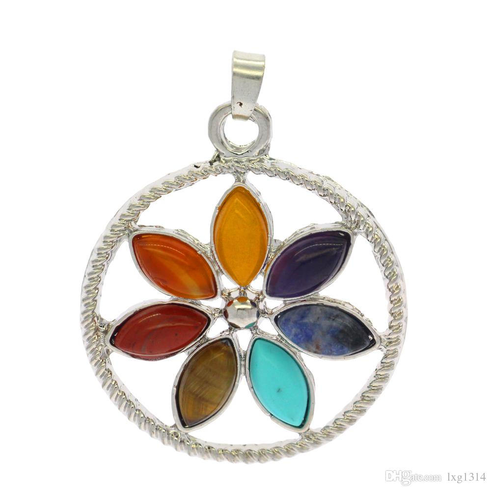 Wholesale Fashion Creative Seven Color Natural Stone Alloy Chakra Intended For Most Current Multi Colored Crystal Patterns Of Frost Pendant Necklaces (View 6 of 25)