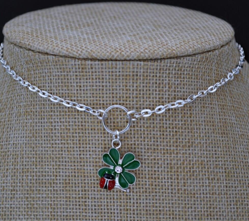 Wholesale Ladybugs 4 Leaf Clover Necklace Vintage Silver Choker Intended For Current Lucky Four Leaf Clover Pendant Necklaces (View 25 of 25)