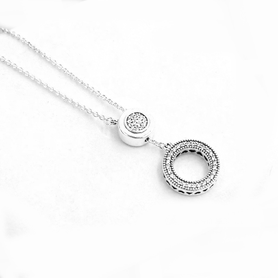 Wholesale New Logo Signature Circle Sliding Clasp With Crystal Necklace For Women Party Gift Pandora Jewelry 925 Sterling Silver Necklace Gold Circle In Most Popular Pandora Logo Circle Necklaces (View 11 of 25)