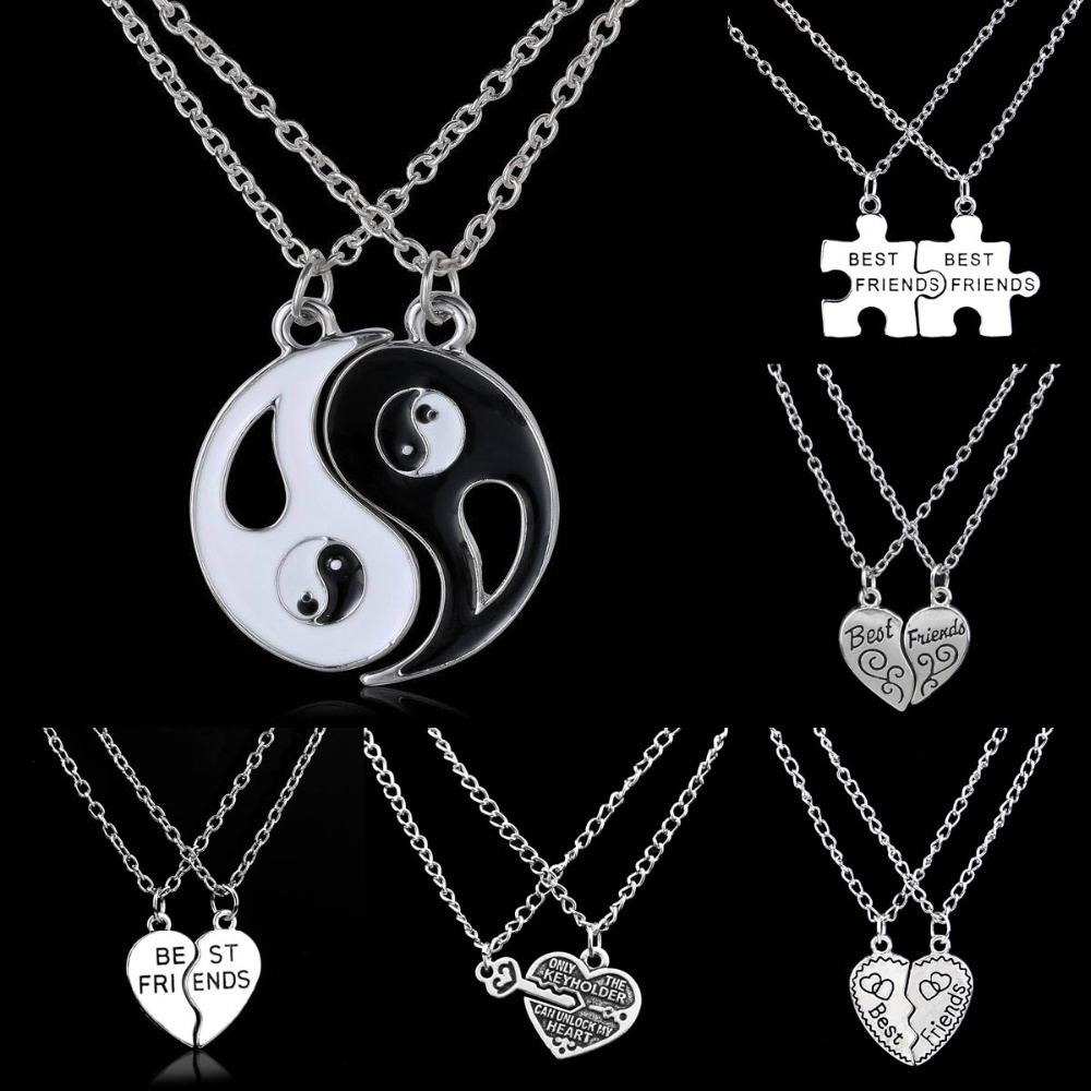 Wholesale Wholesale Best Friends Key Lock Puzzle Heart Bff Yin Yang Pertaining To Latest Best Friends Heart & Key Necklaces Pendant Necklaces (Gallery 9 of 25)