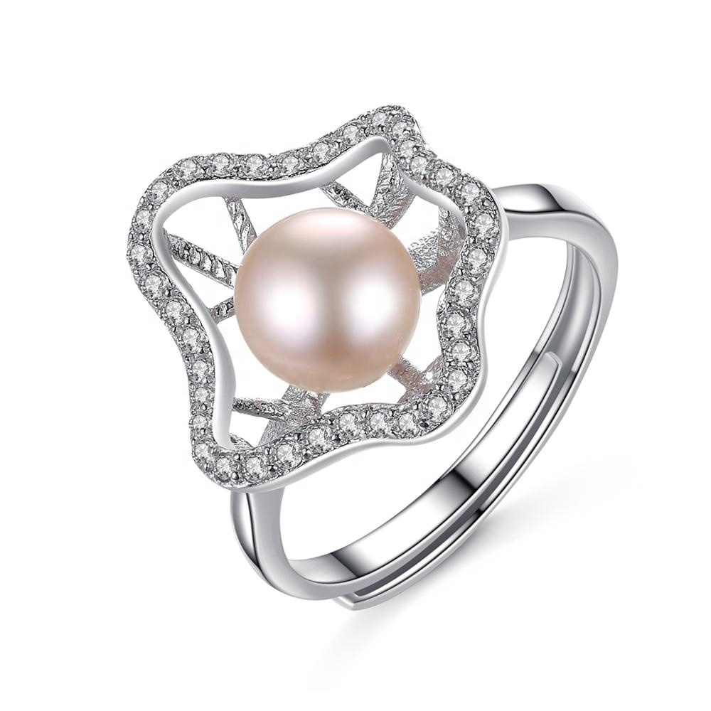 Wholesale Wholesale Lovely Irregular Flower Shape Luxury Wedding Ring With  Real Natural Bread Beads Pearl For Women Girl Regarding 2018 Bead & Freshwater Cultured Pearl Open Rings (View 23 of 25)