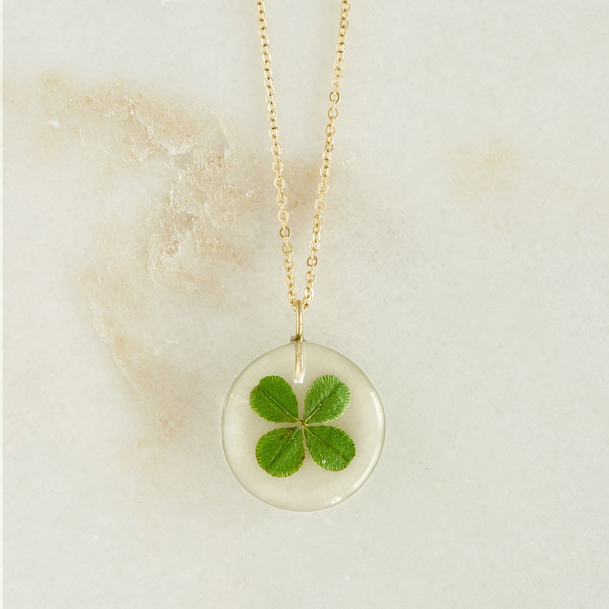 Wish Me Luck Necklace | Real Four Leaf Clover Necklace | Uncommongoods Regarding Best And Newest Lucky Four Leaf Clover Y  Necklaces (View 24 of 25)
