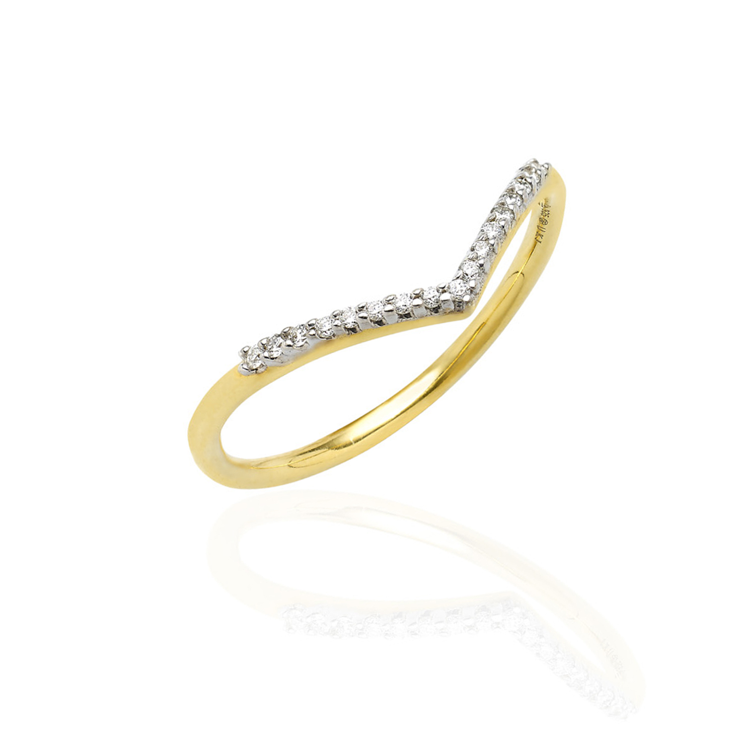 Wishbone Diamond Ring Yellow Gold In Current Sparkling Wishbone Rings (View 16 of 25)