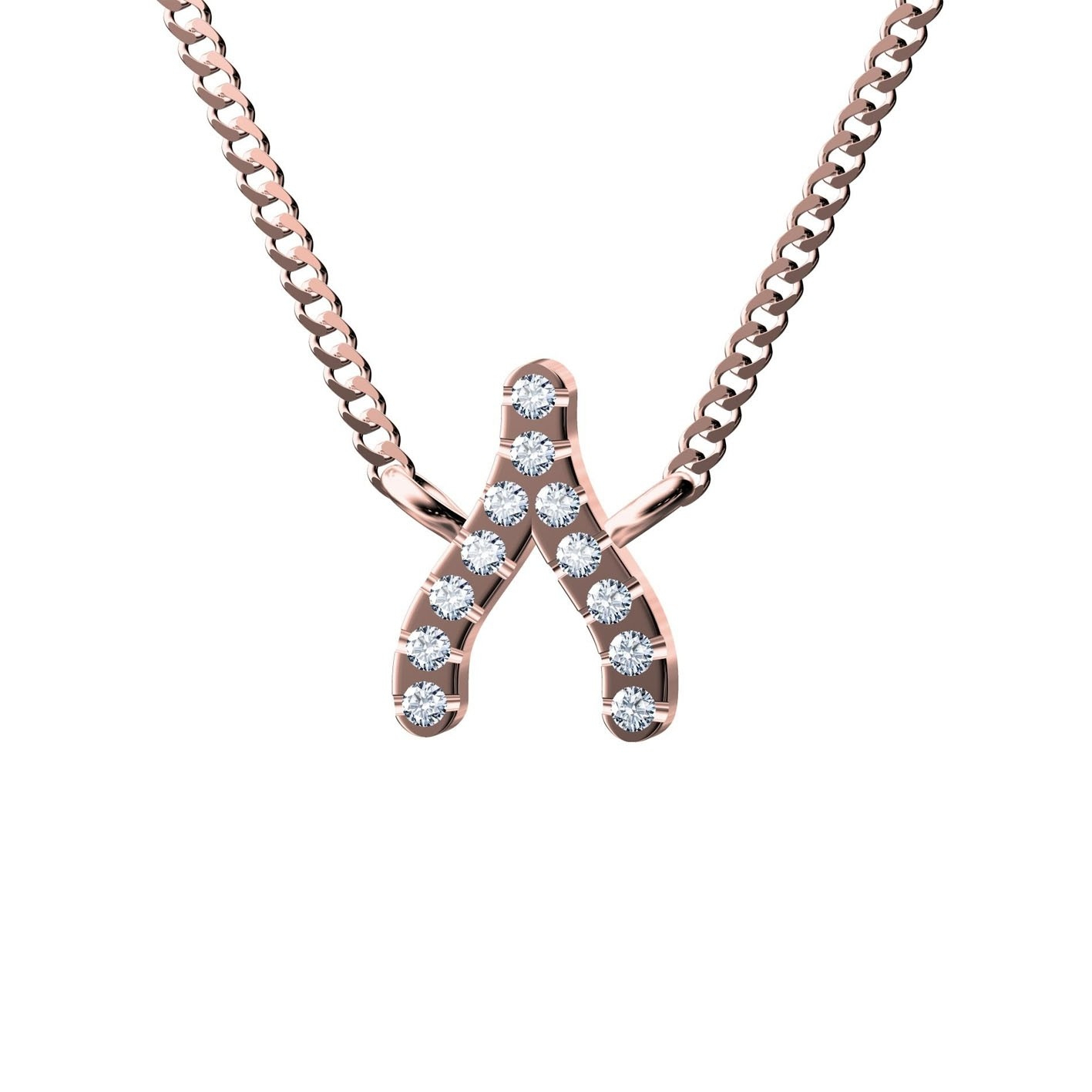 Wishbone Necklace White – Diamanti Per Tutti Throughout Most Up To Date Sparkling Wishbone Necklaces (View 6 of 25)