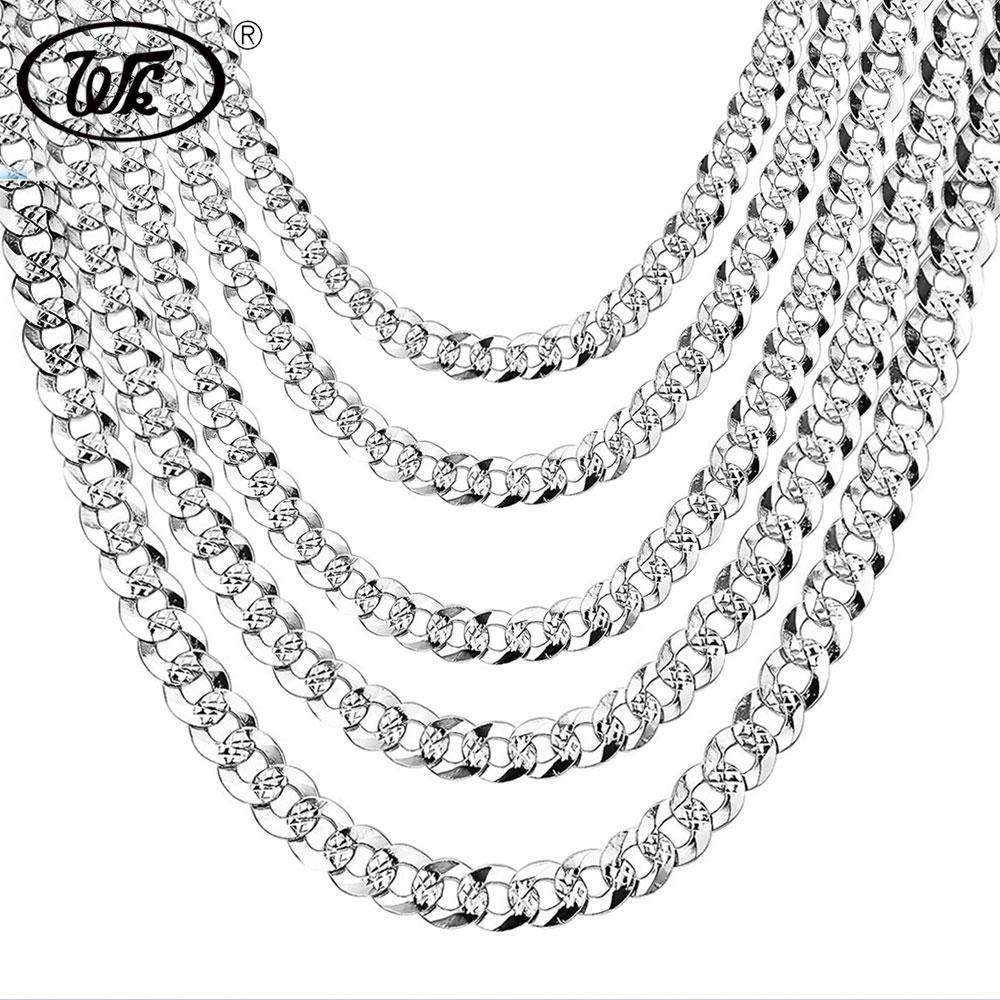 Wk 100% 925 Sterling Silver Mens Silver Chain Necklace Men Hip Hop Rapper  Curb Cuban Link Chain Male 4Mm 5Mm 6Mm 20 22 26 Nm005 Regarding Latest Silver Chain Necklaces (View 25 of 25)