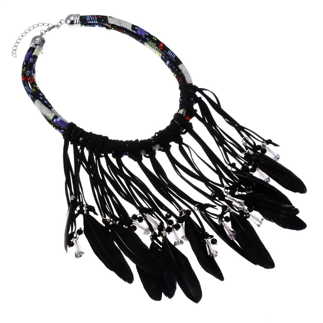 Women Fashion Jewellery Pu Leather Feather Tassels Rope Choker Inside Most Up To Date Black Leather Feather Choker Necklaces (View 25 of 25)