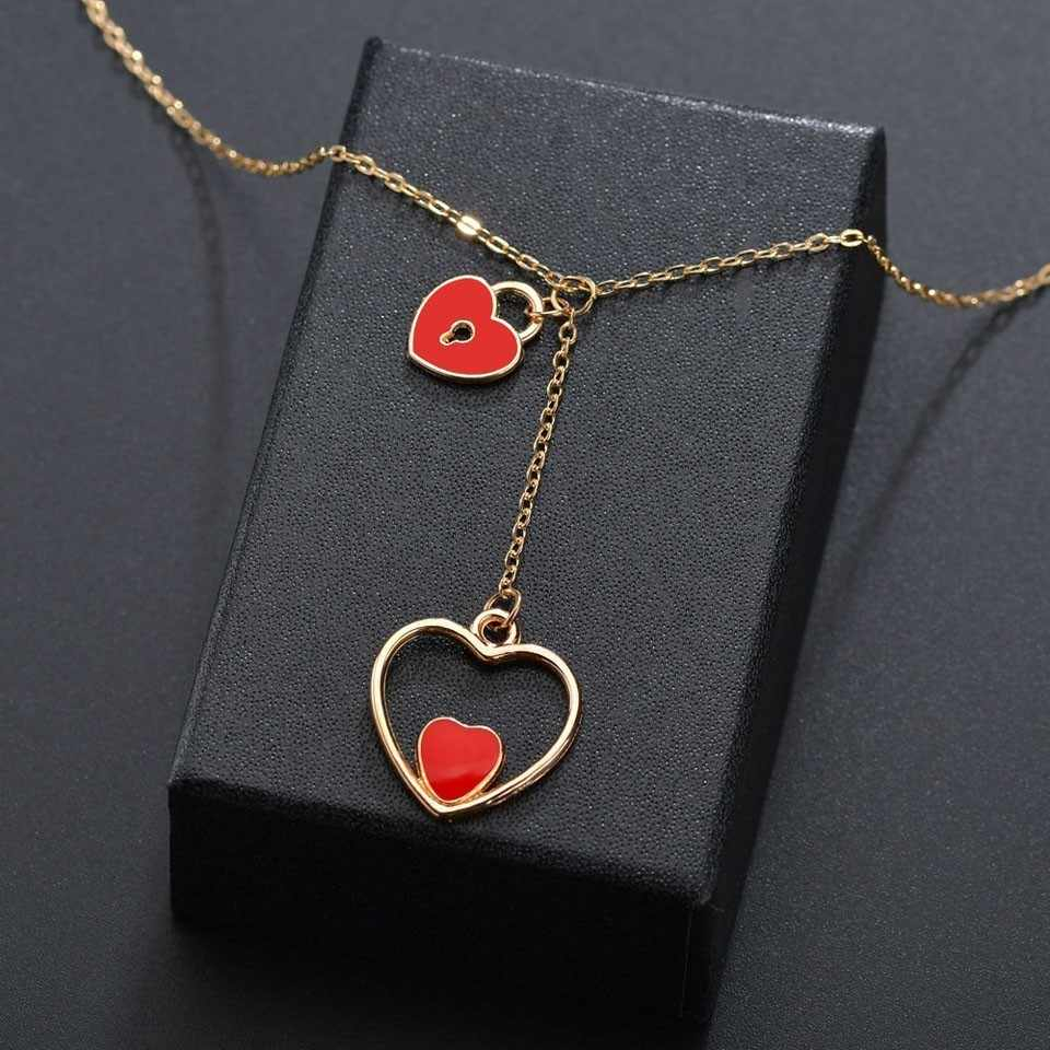 Women Korean Pendant Necklace Double Heart With Heart Lock Trendy Romantic Heart Design Wedding Jewelry Necklace For Gifts Inside 2020 Heart Padlock Locket Element Necklaces (View 13 of 25)