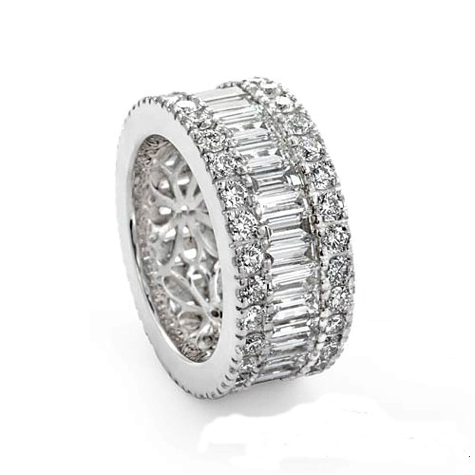 Womens 18Ct White Gold Baguette Round Diamond Wedding Ring Inside Best And Newest Baguette And Round Diamond Anniversary Bands In White Gold (View 25 of 25)