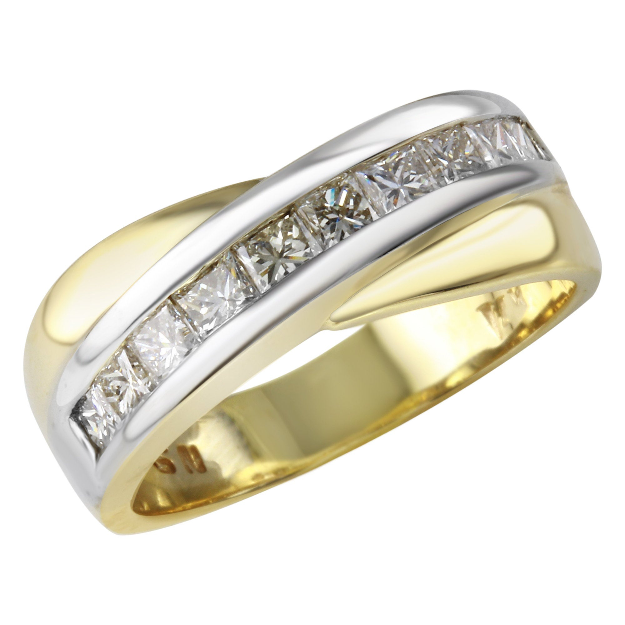 Women's Channel Set Anniversary Band Ring In 14K Yellow And White Gold With  Princess Cut Diamonds Regarding 2020 Diamond Channel Set Anniversary Bands In Gold (View 25 of 25)