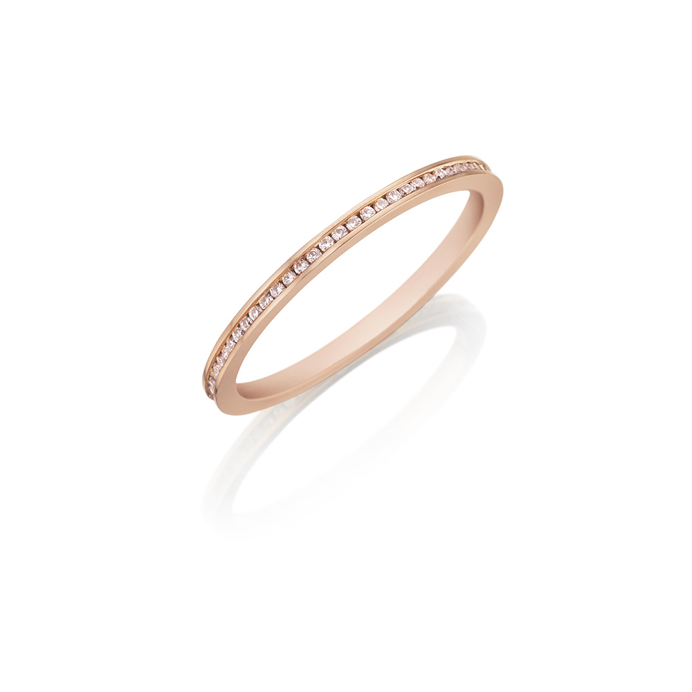 Women's Designer Wedding Bands & Diamond Wedding Bands With Regard To 2020 Champagne And White Diamond Edge Anniversary Bands In Rose Gold (View 12 of 25)