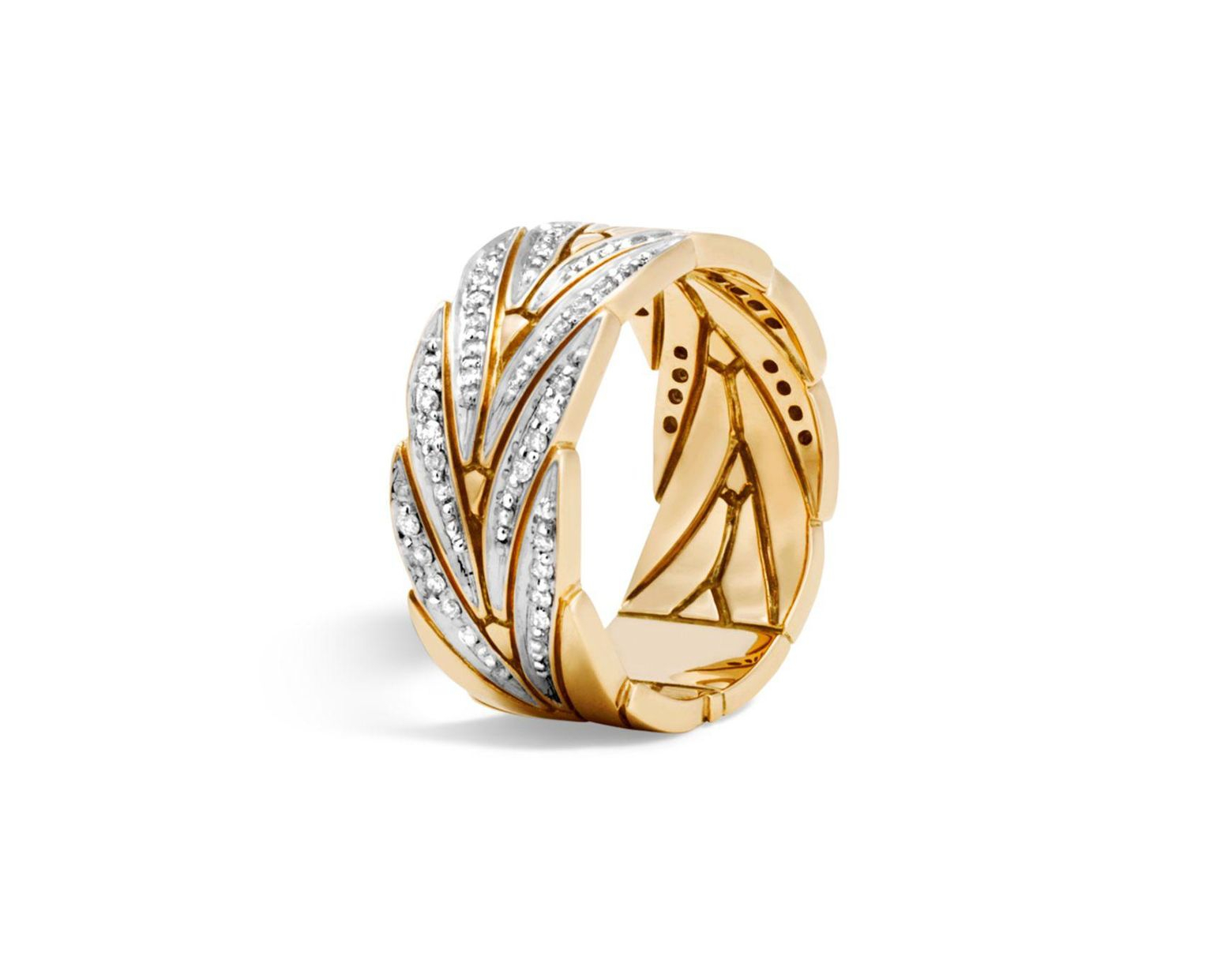 Women's Metallic 18K Yellow Gold Modern Chain Band Ring With Diamonds Within Current Pavé Modern Lovepods Rings (View 25 of 25)