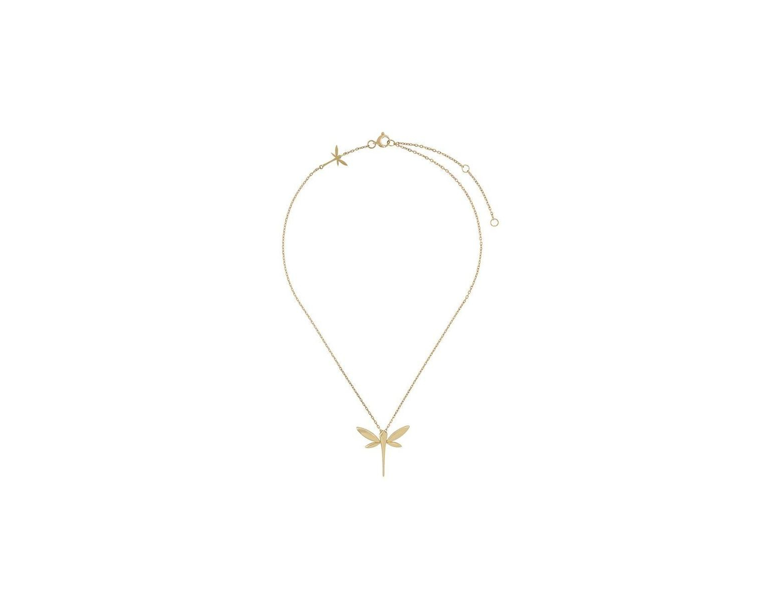Women's Metallic 18Kt Yellow Gold Dragonfly Pendant Necklace Within Current Sparkling Dragonfly Y  Necklaces (View 25 of 25)