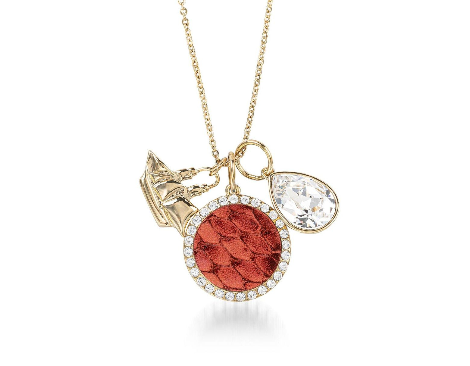 Women's Metallic Crystal Charm Necklace Garnet Fairhaven With Regard To Best And Newest Garnet Red January Birthstone Locket Element Necklaces (View 18 of 25)