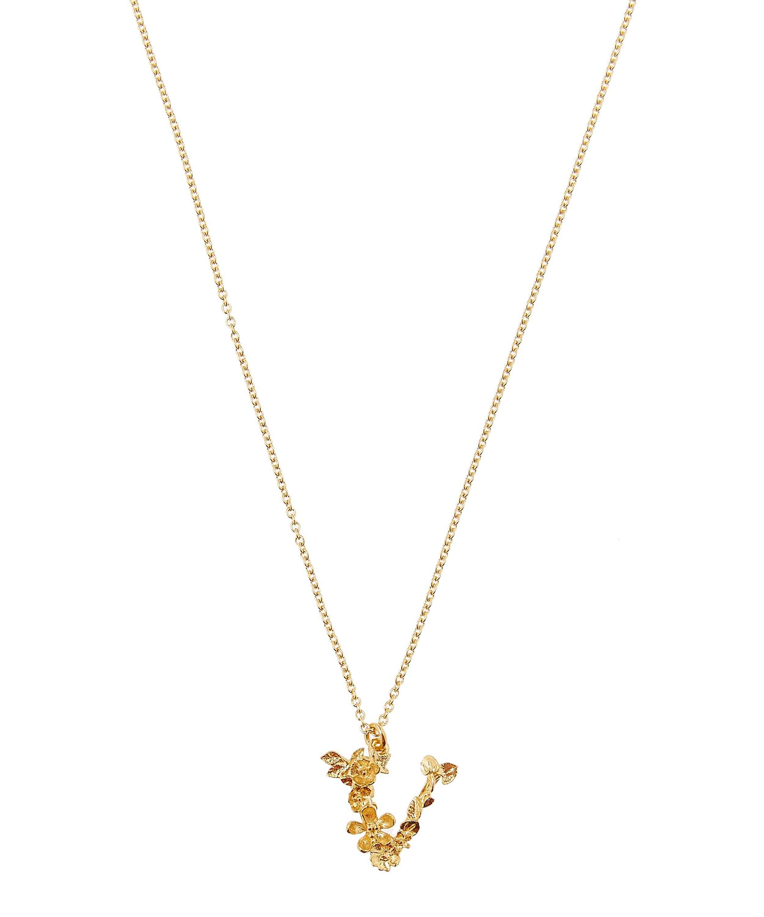 Women's Metallic Gold Plated Floral Letter V Alphabet Necklace Intended For 2020 Letter V Alphabet Locket Element Necklaces (View 4 of 25)