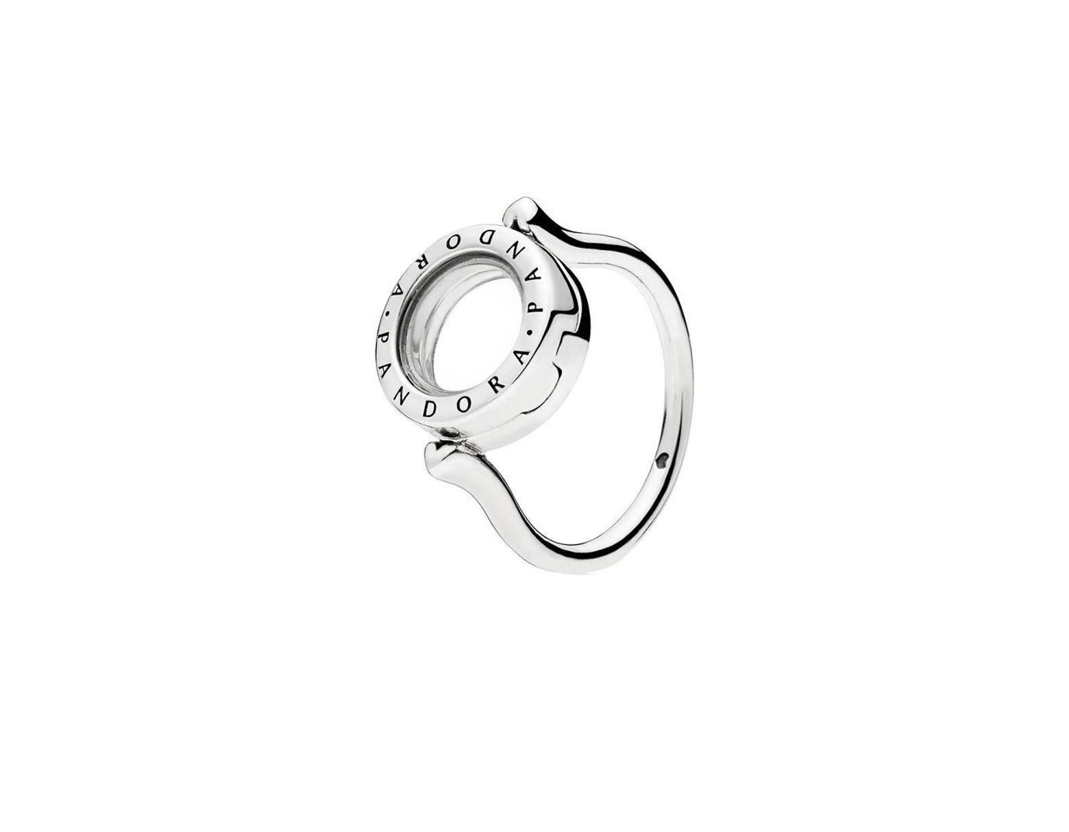 Women's Metallic Silver Floating Lock Ring Inside Current Entwined Circles Pandora Logo & Sparkle Rings (Gallery 9 of 25)
