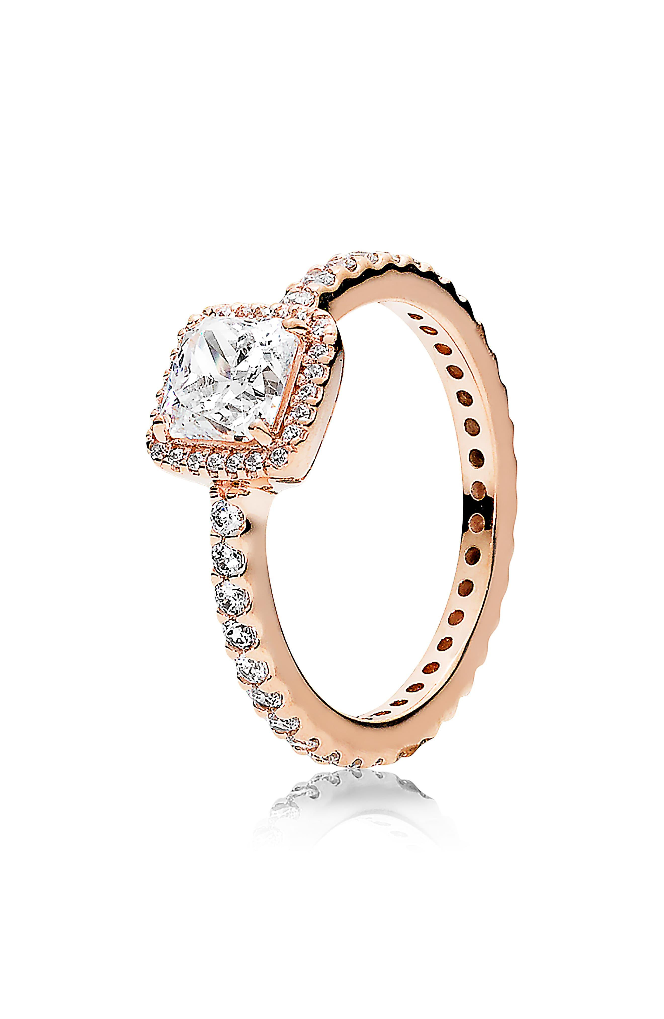 Women's Metallic Square Sparkle Halo Ring Throughout Most Up To Date Entwined Circles Pandora Logo & Sparkle Rings (View 4 of 25)
