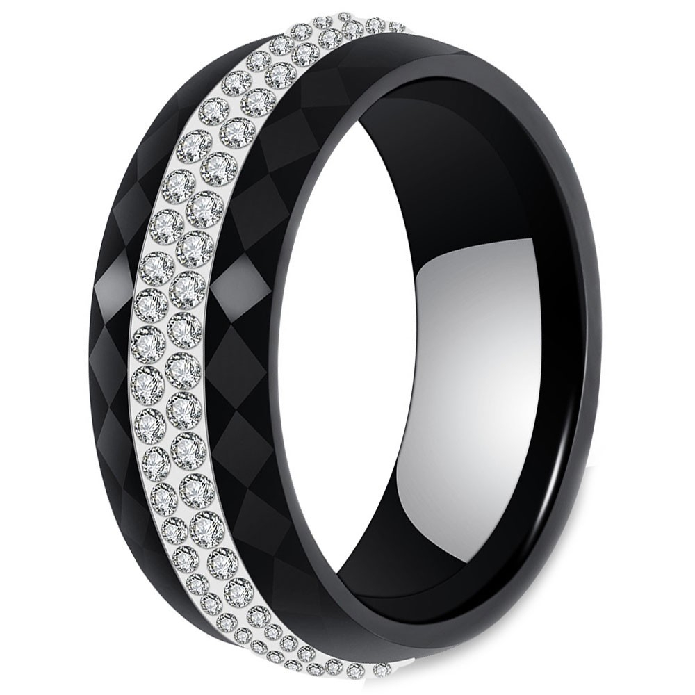 Women's Multifaceted Black Ceramic With Cubic Zirconia Inlay Center Band Ring Within Best And Newest Multifaceted Rings (View 16 of 25)