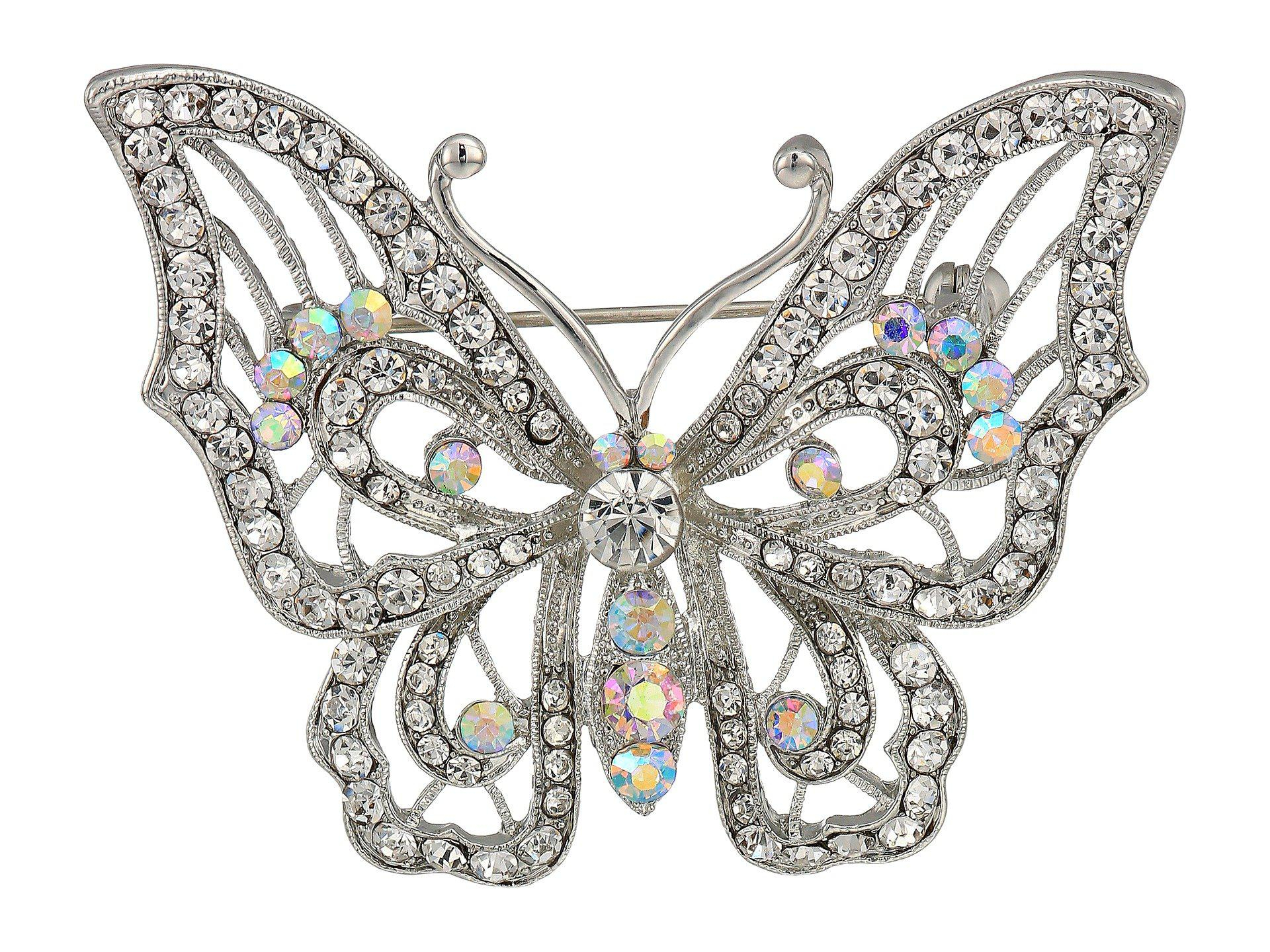 Women's Open Work Pave Butterfly Brooch (rhodium/white/ab Crystal) Brooches Pins Inside Most Up To Date Blue Pavé Butterfly Brooch Necklaces (View 11 of 25)