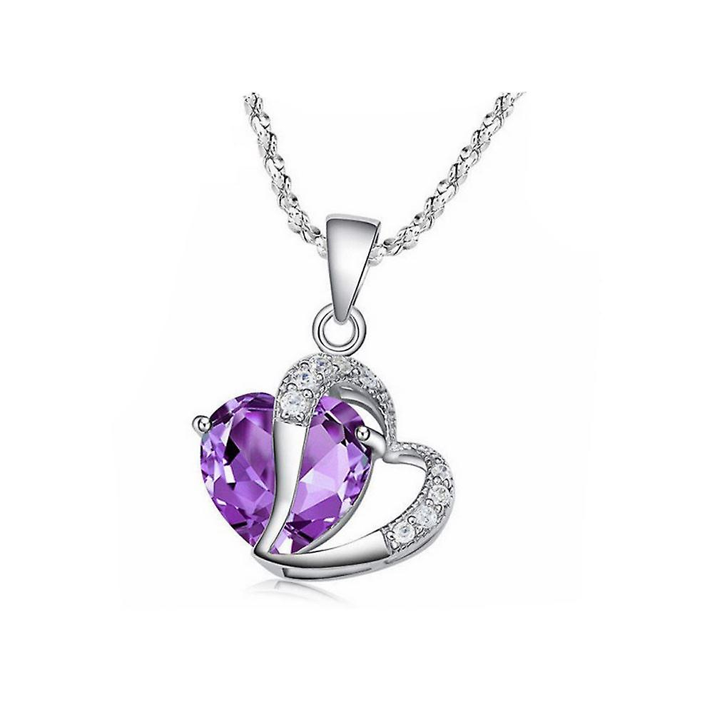 Womens Purple Heart Crown Pendant Necklace Pertaining To Most Recently Released Crown & Interwined Hearts Pendant Necklaces (View 7 of 25)